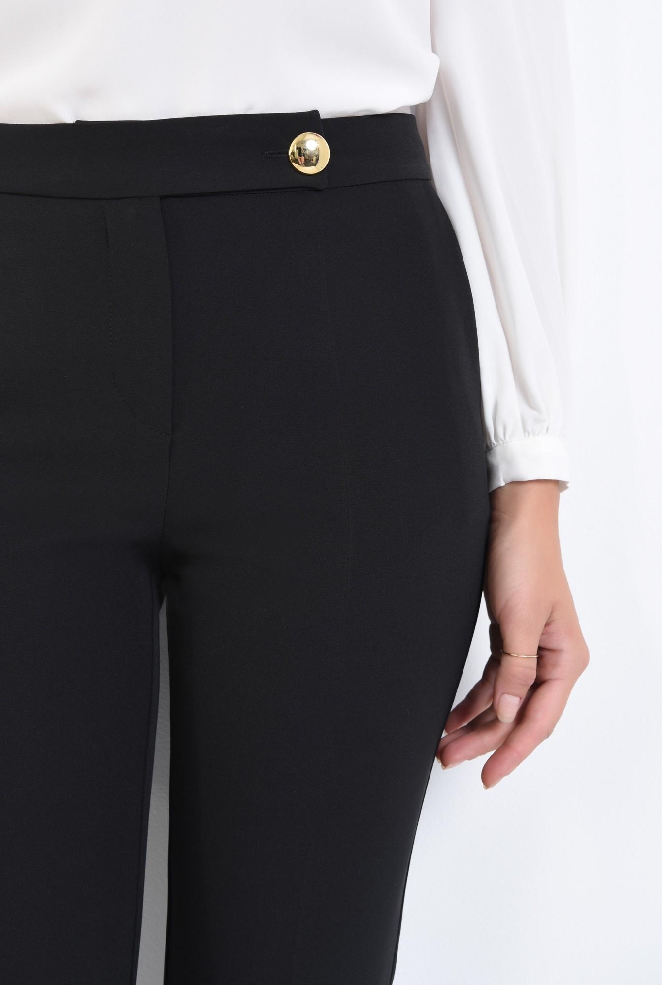 2 - pantaloni casual, croi conic, negru, nasture auriu