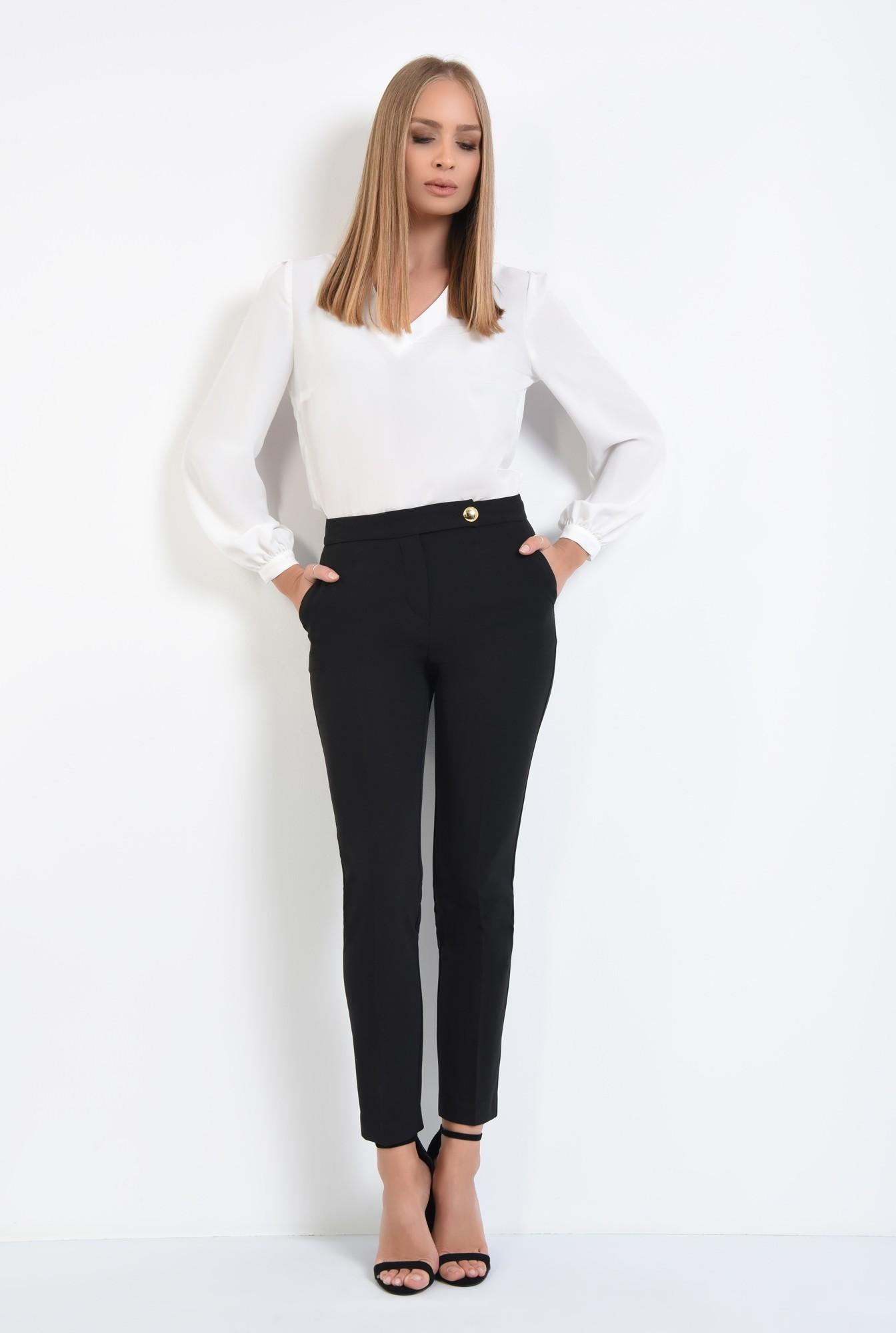 3 - pantaloni casual, croi conic, negru, nasture auriu