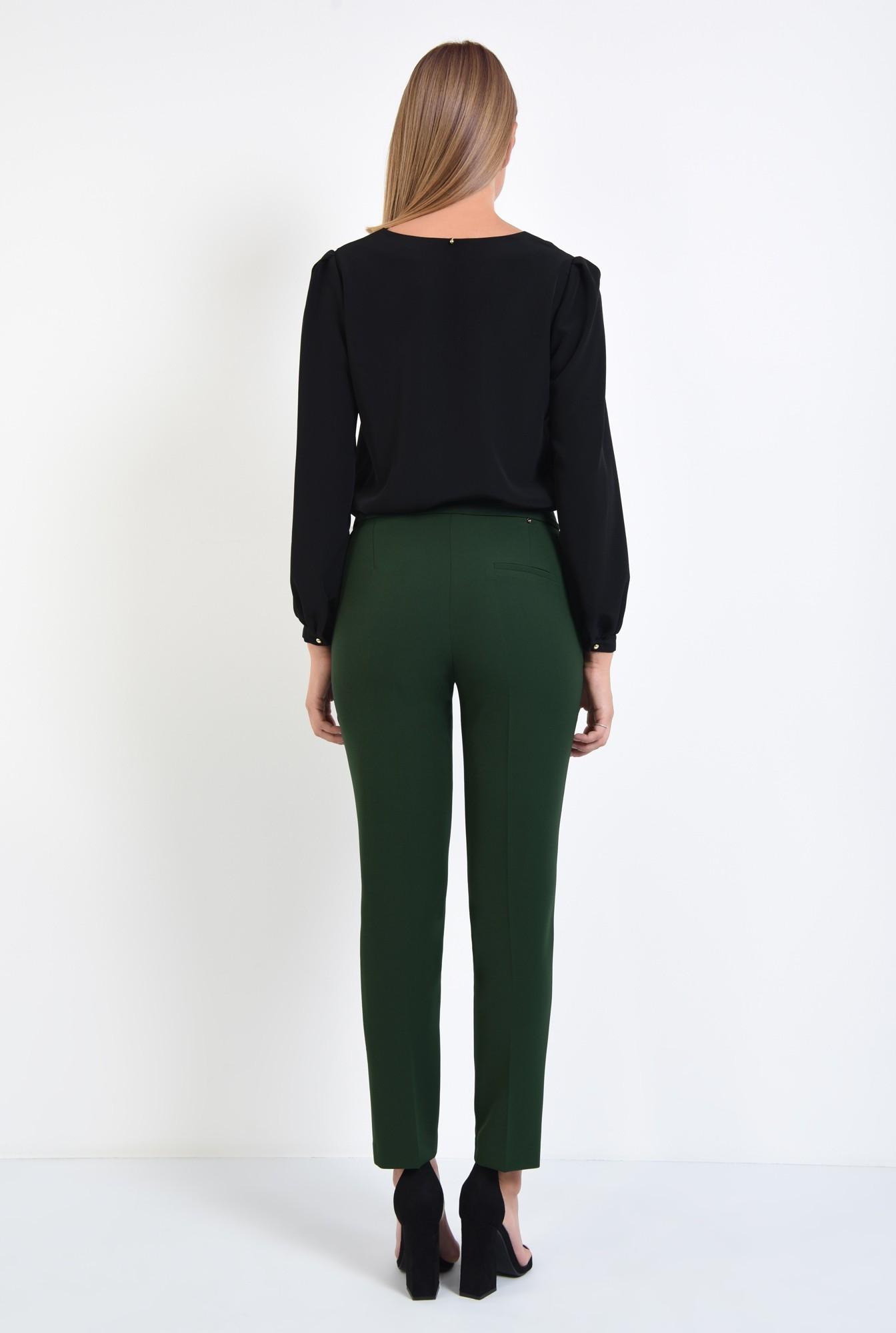 1 - pantaloni casual, verde, croi conic, talie medie