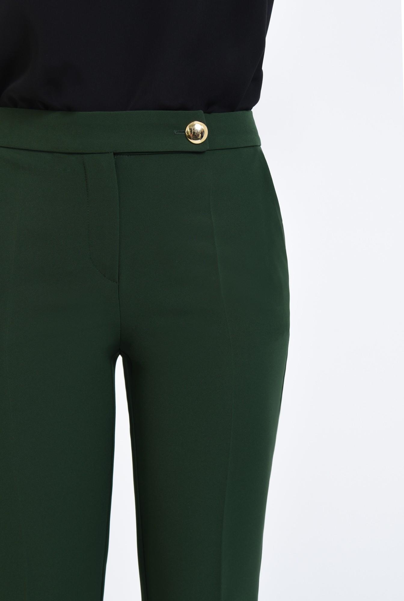 2 - pantaloni casual, verde, croi conic, talie medie