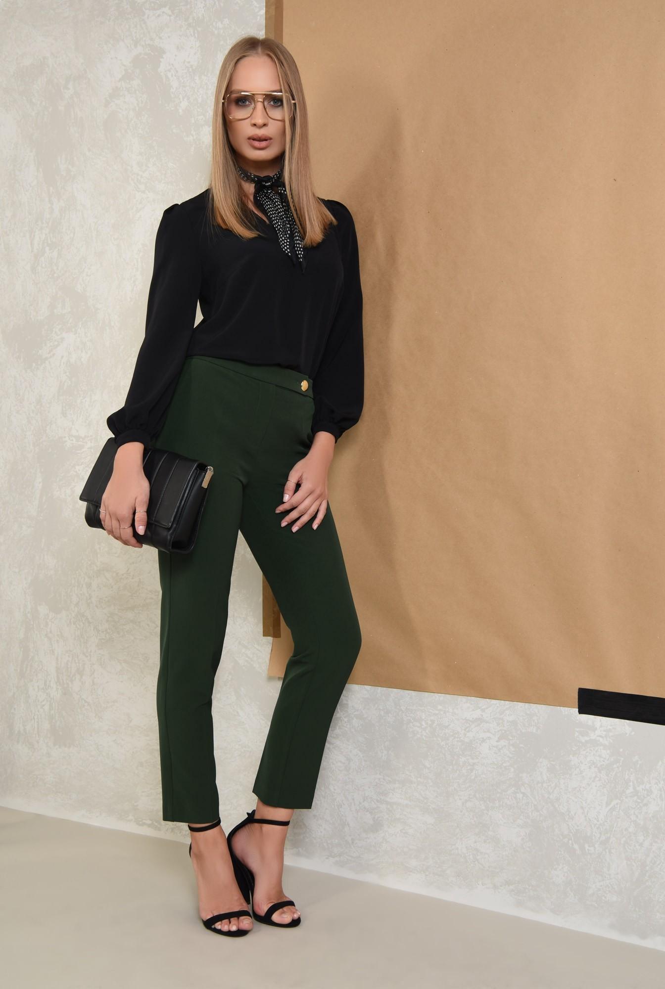 3 - pantaloni casual, verde, croi conic, talie medie