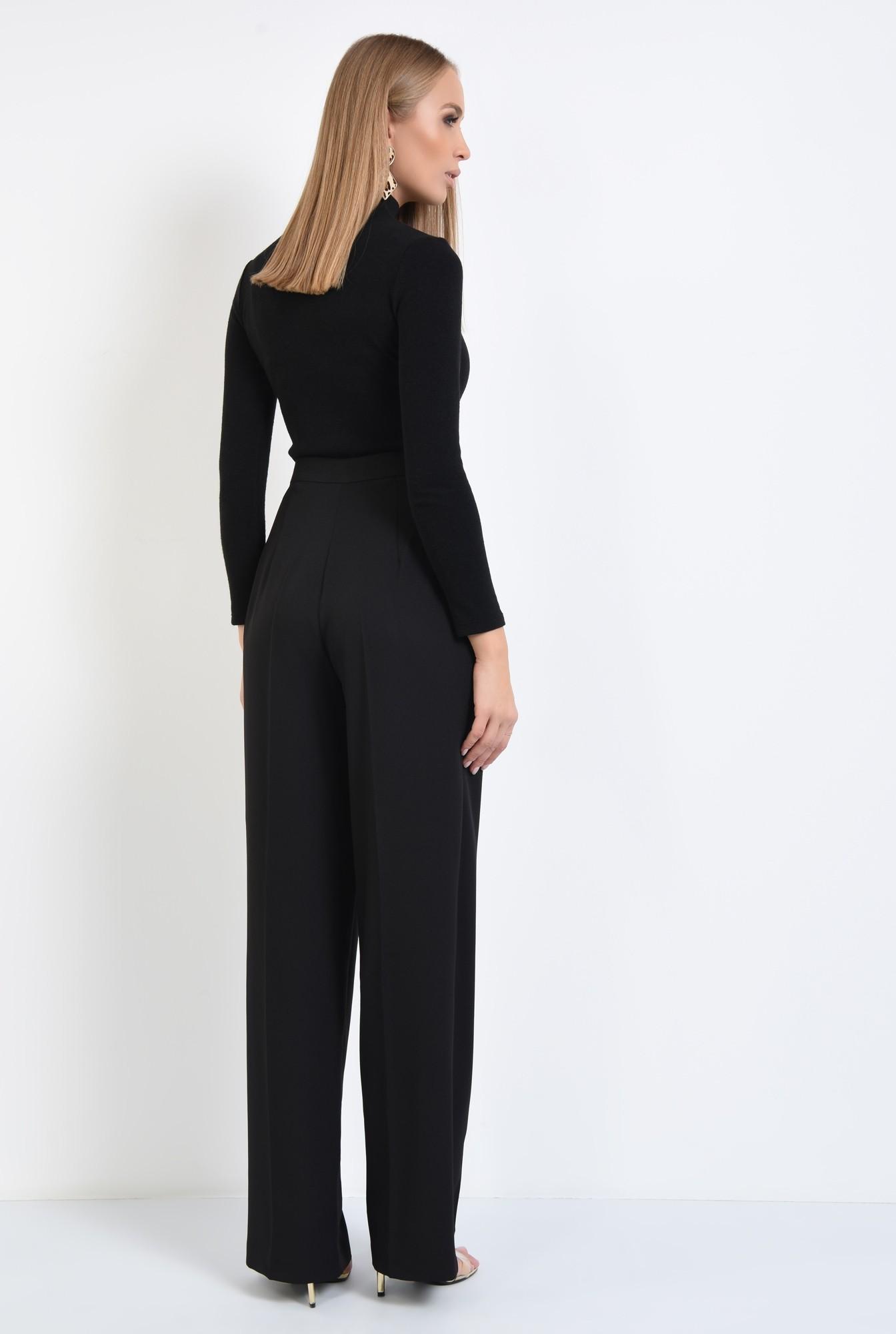 1 - pantaloni eleganti, croi larg, pense, talie inalta