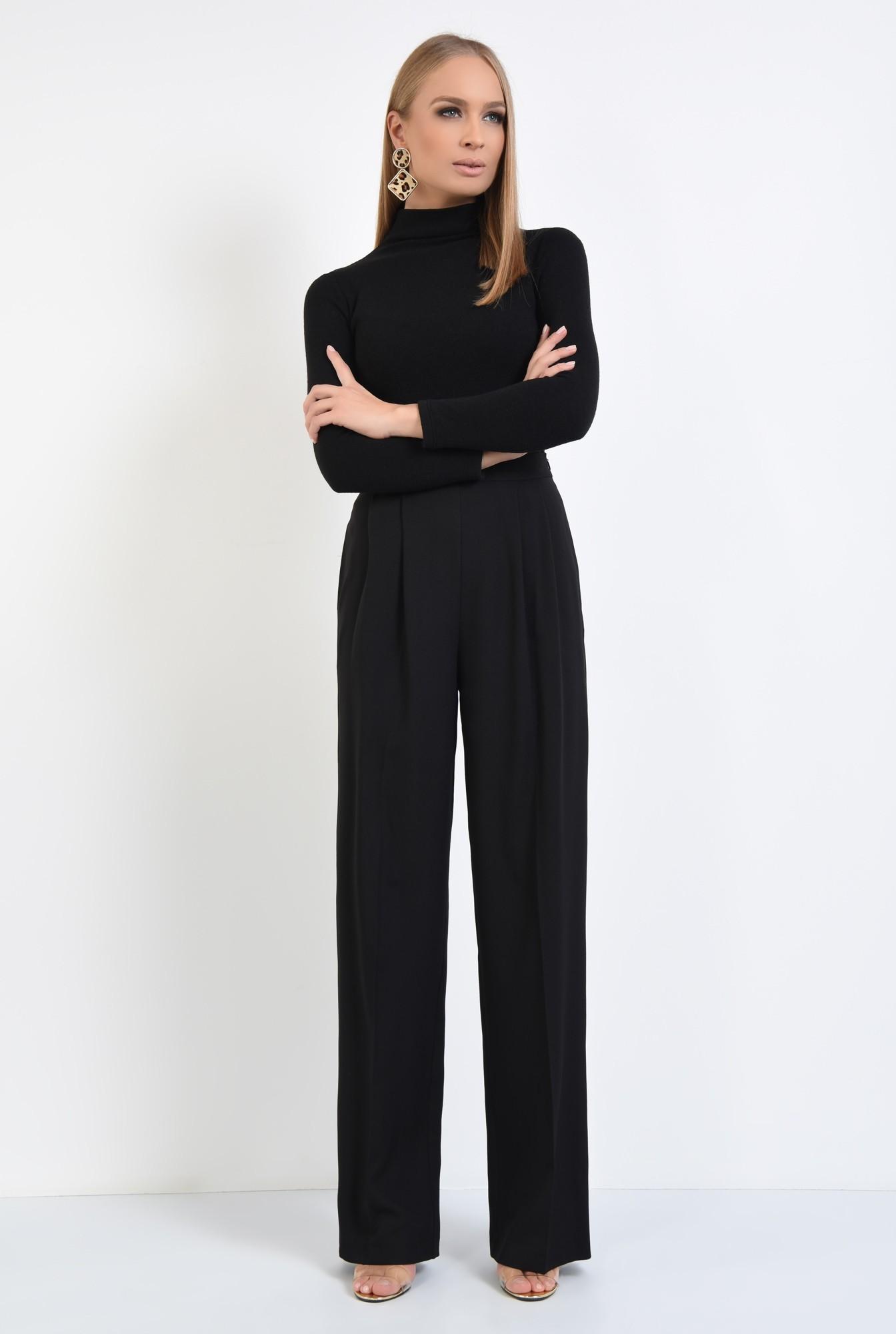 3 - pantaloni eleganti, croi larg, pense, talie inalta