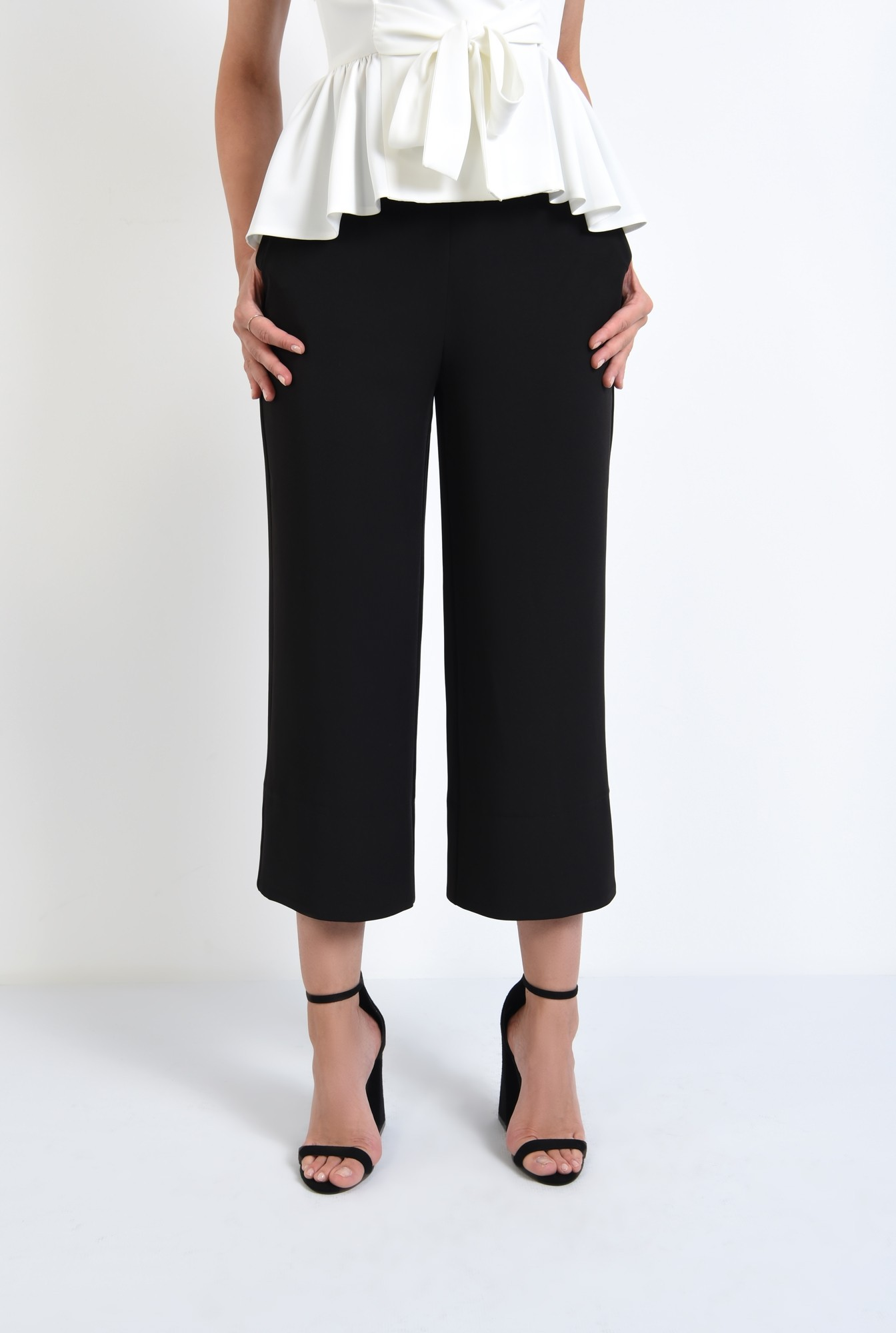 2 - 360 - pantaloni eleganti drepti, wide leg, buzunare functionale
