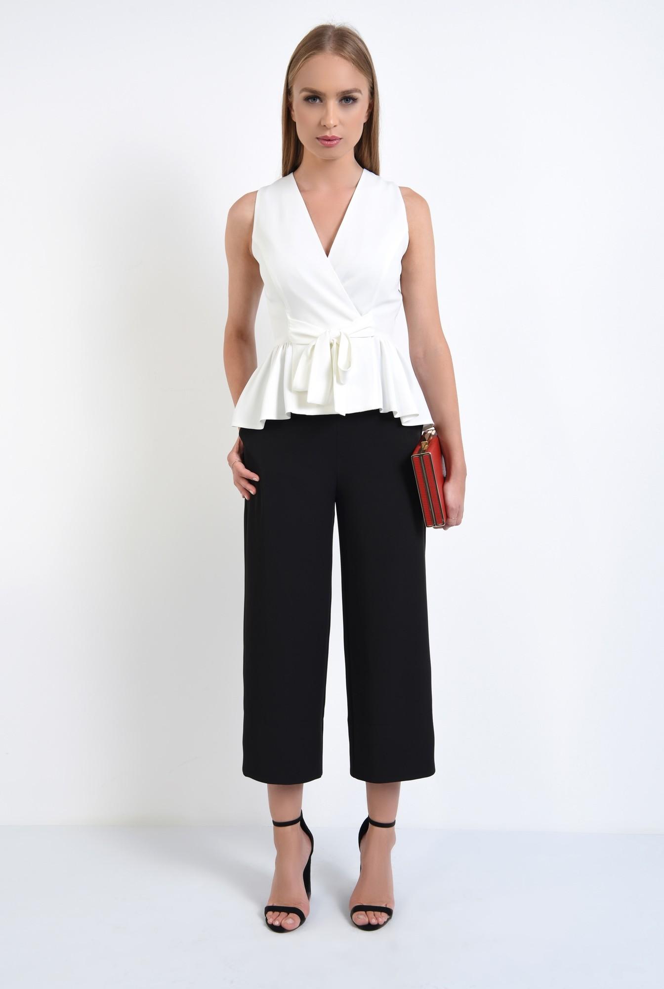 0 - 360 - pantaloni eleganti drepti, wide leg, buzunare functionale