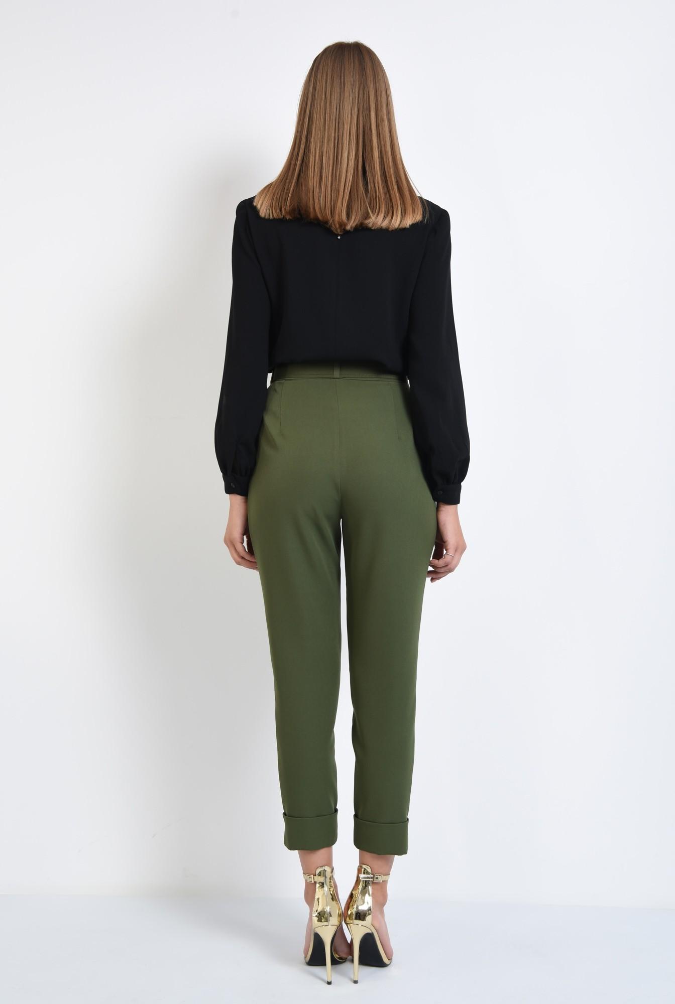 1 - pantaloni de dama, pantaloni online, verde kaki, curea, mansete