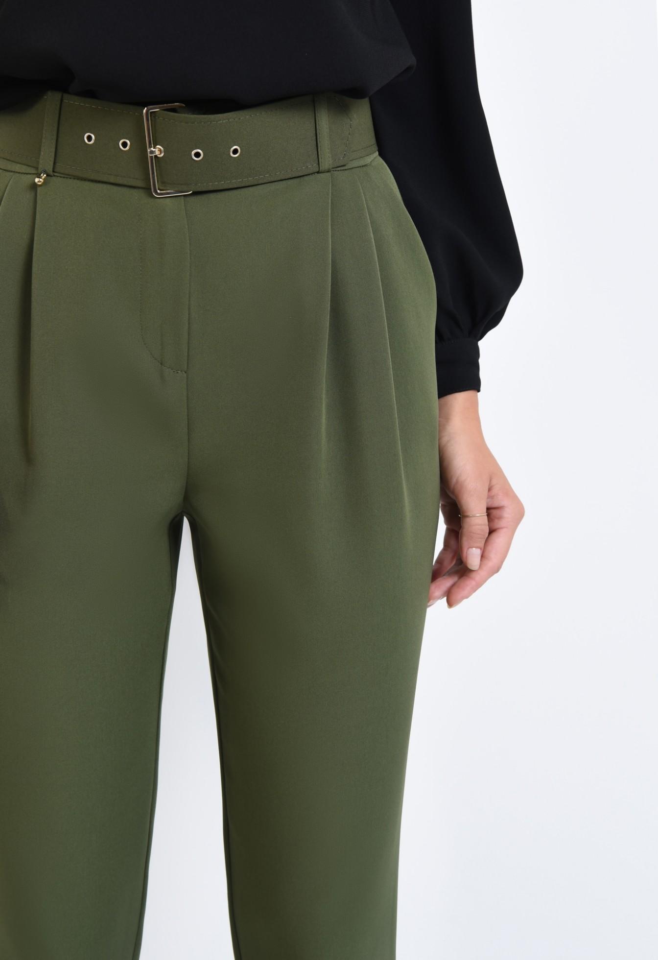 2 - pantaloni de dama, pantaloni online, verde kaki, curea, mansete