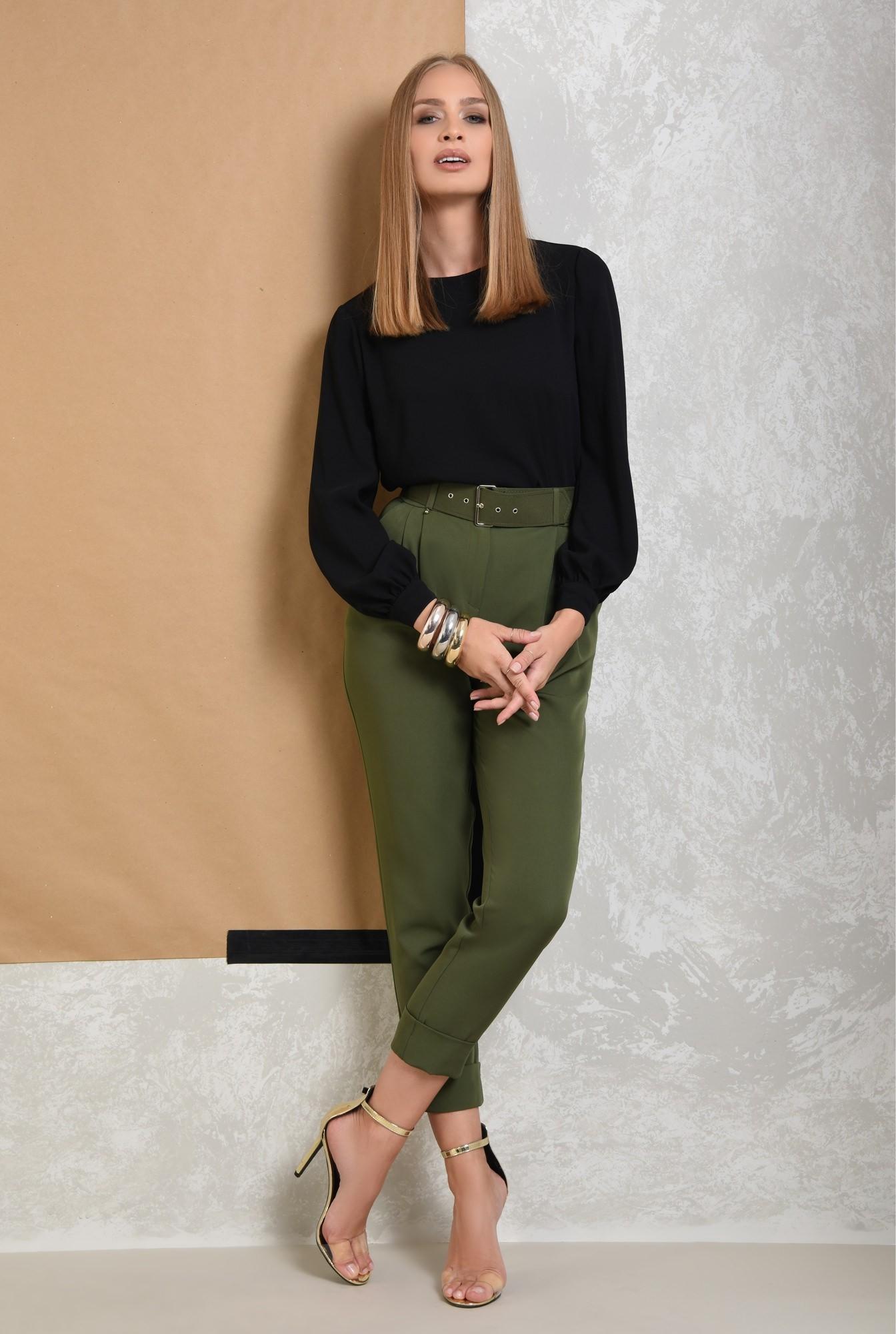 3 - pantaloni de dama, pantaloni online, verde kaki, curea, mansete
