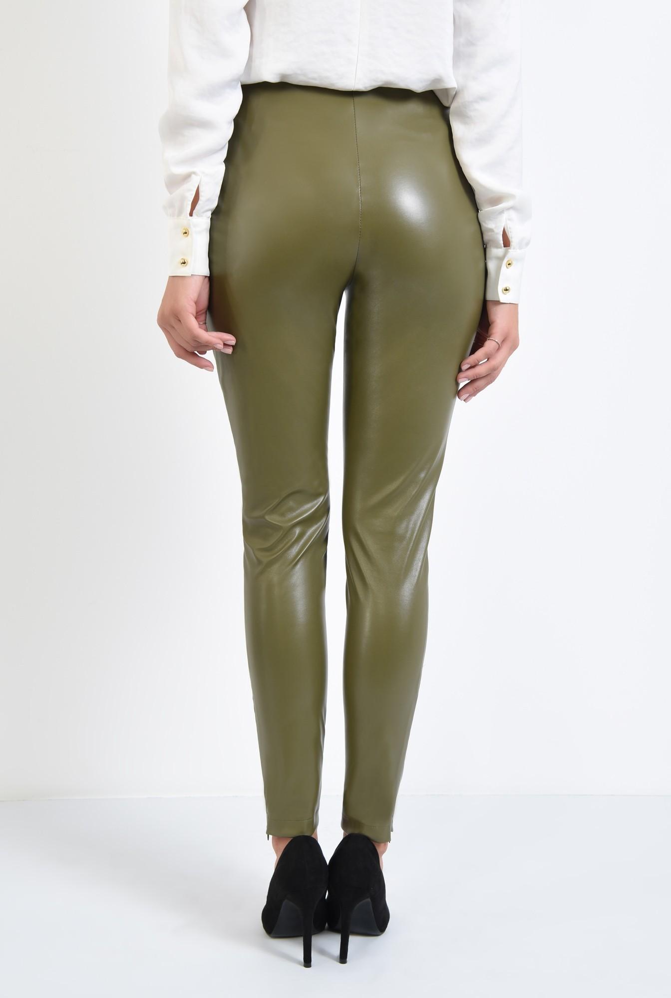 1 - pantaloni conici, kaki, fermoar la glezna, talie inalta fara betelie