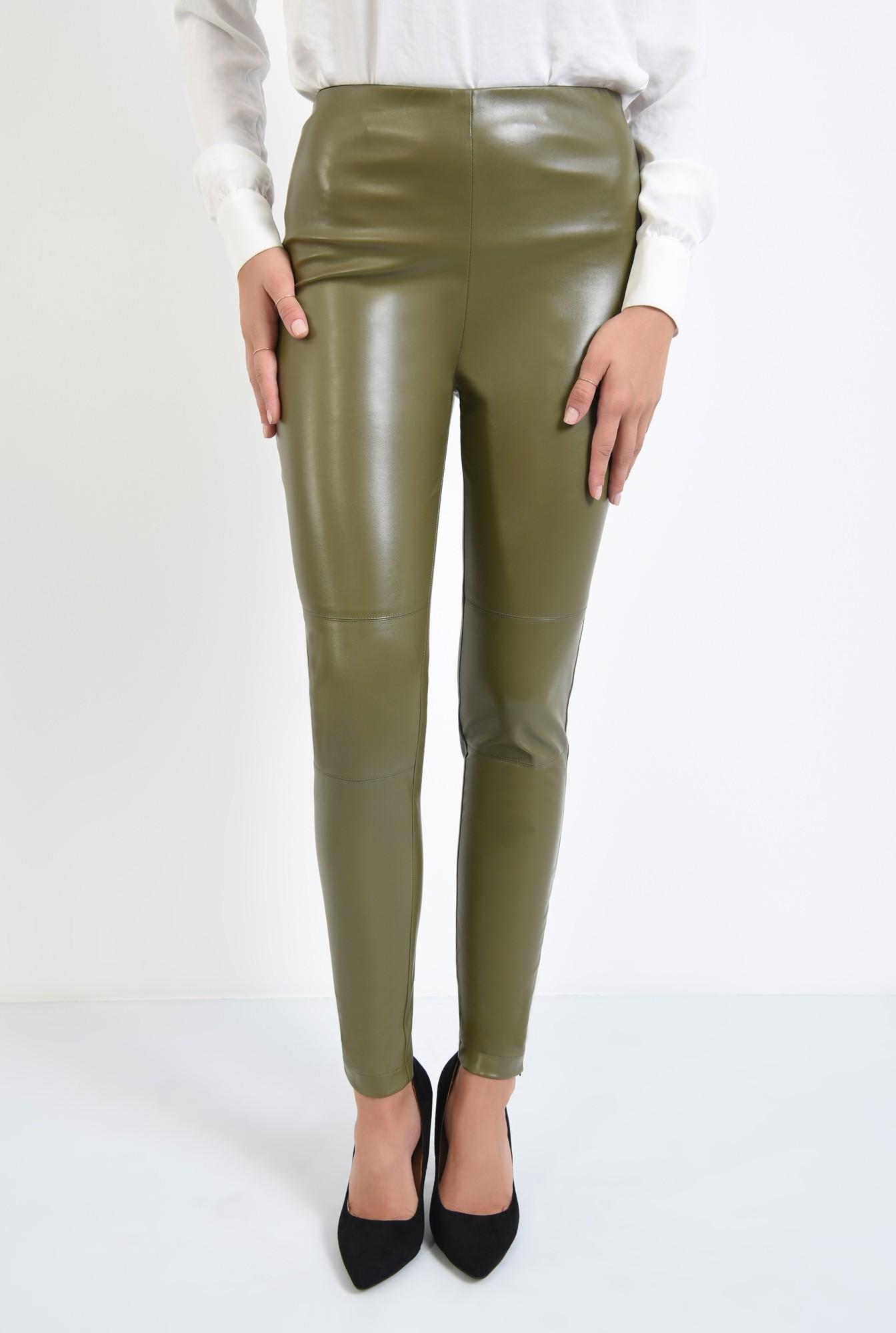 2 - pantaloni conici, kaki, fermoar la glezna, talie inalta fara betelie