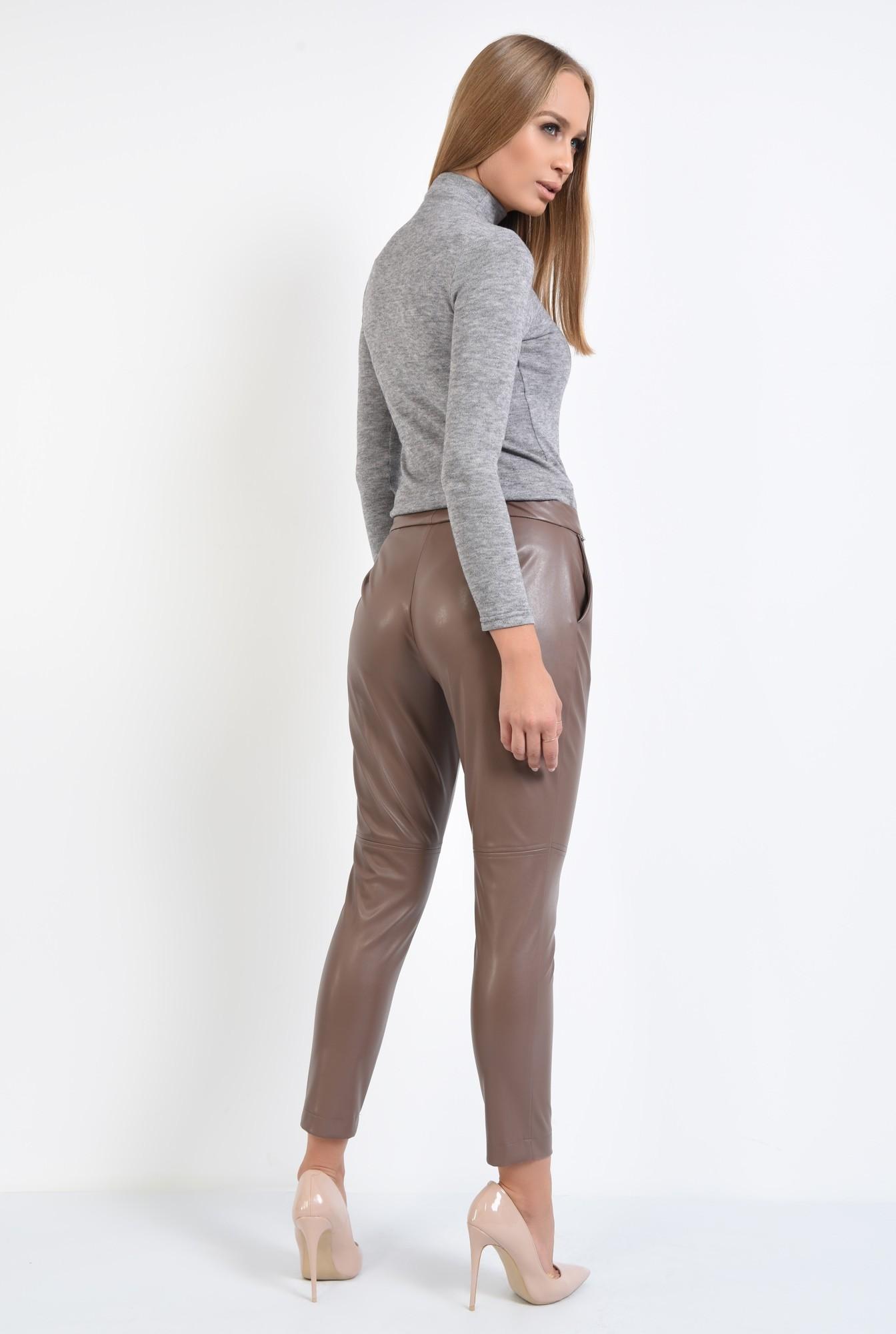 1 - pantaloni casual, pana, piele eco, talie medie