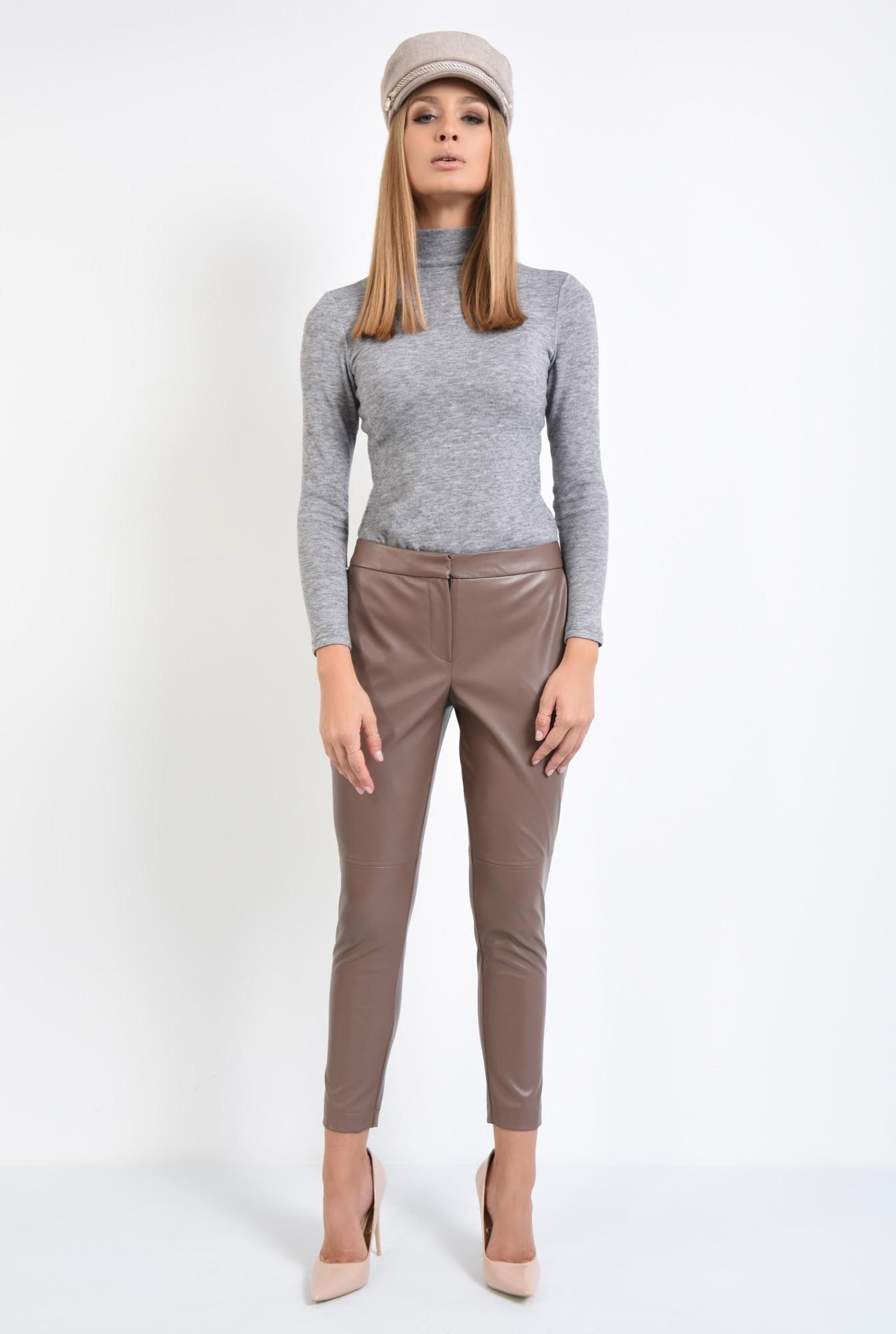 3 - pantaloni casual, pana, piele eco, talie medie
