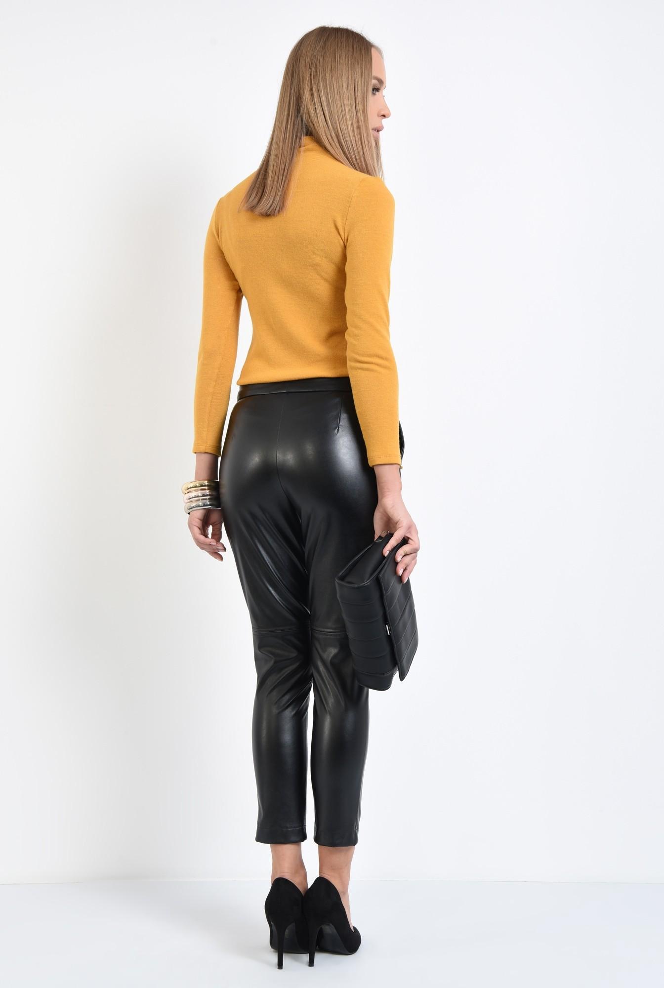 1 - pantaloni casual, cusatura decorativa, buzunare functionale, negri, PU