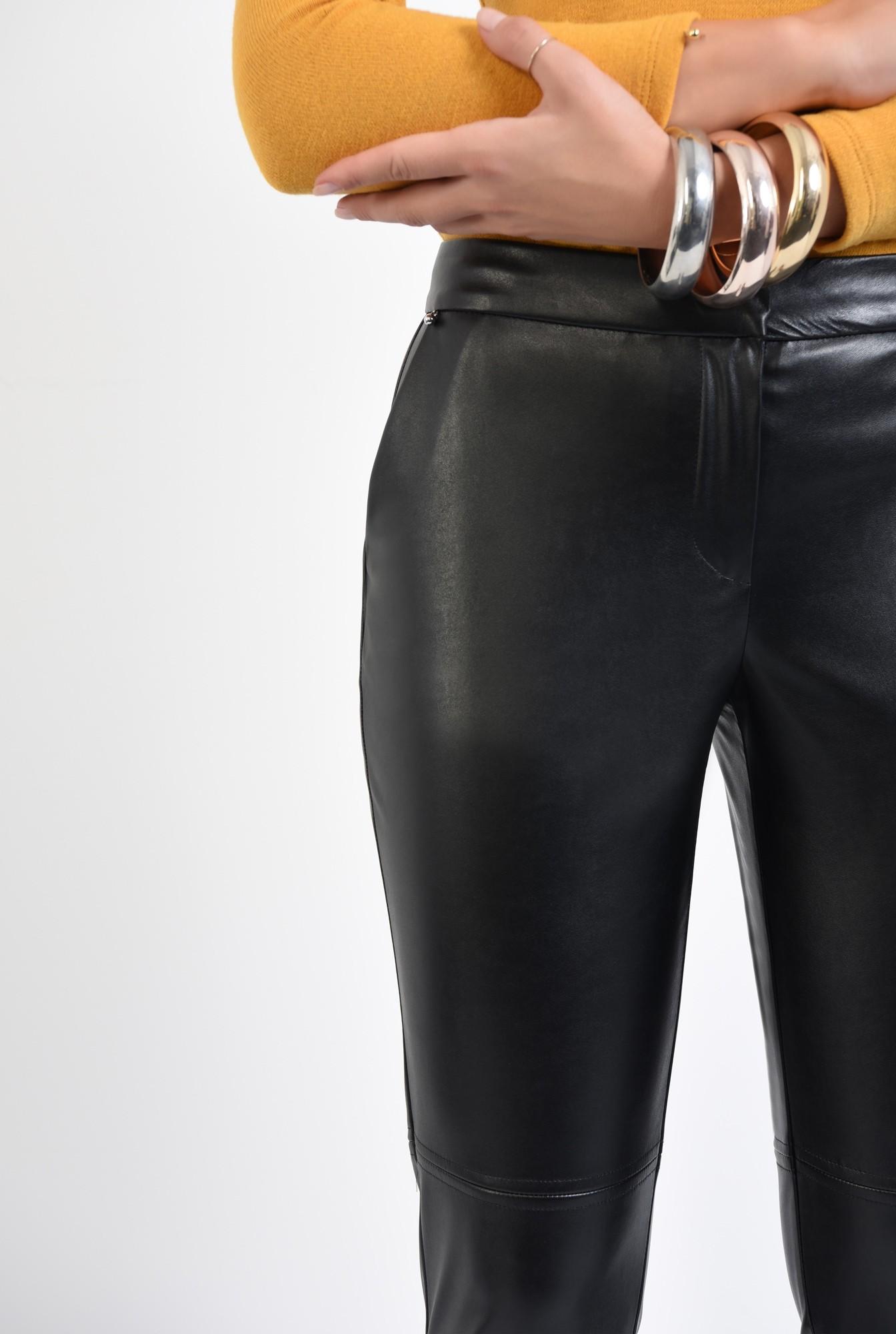 2 - pantaloni casual, cusatura decorativa, buzunare functionale, negri, PU