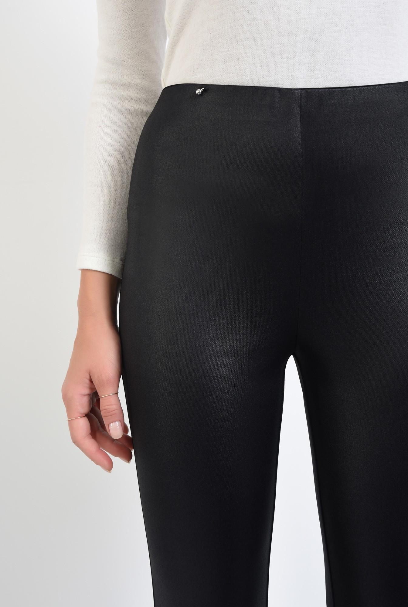2 - pantaloni negri, fermoare la glezna, talie inalta, peliculizati
