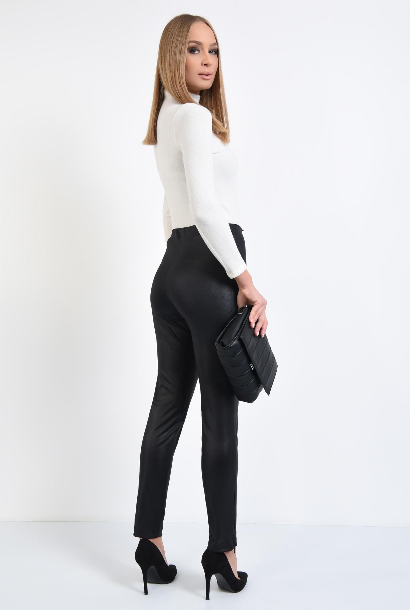 1 - pantaloni negri, fermoare la glezna, talie inalta, peliculizati