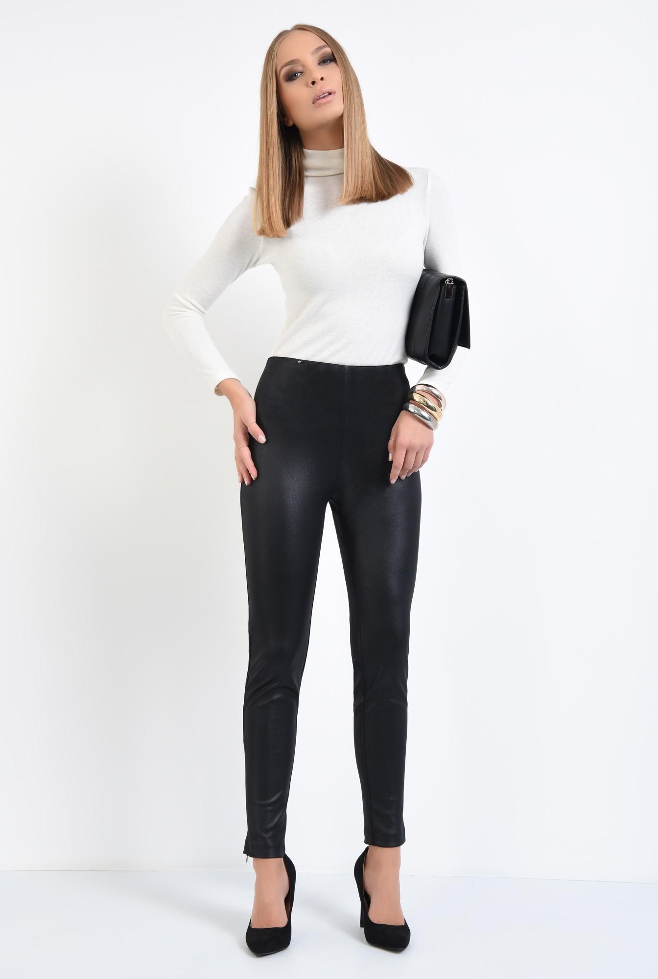 3 - pantaloni negri, fermoare la glezna, talie inalta, peliculizati