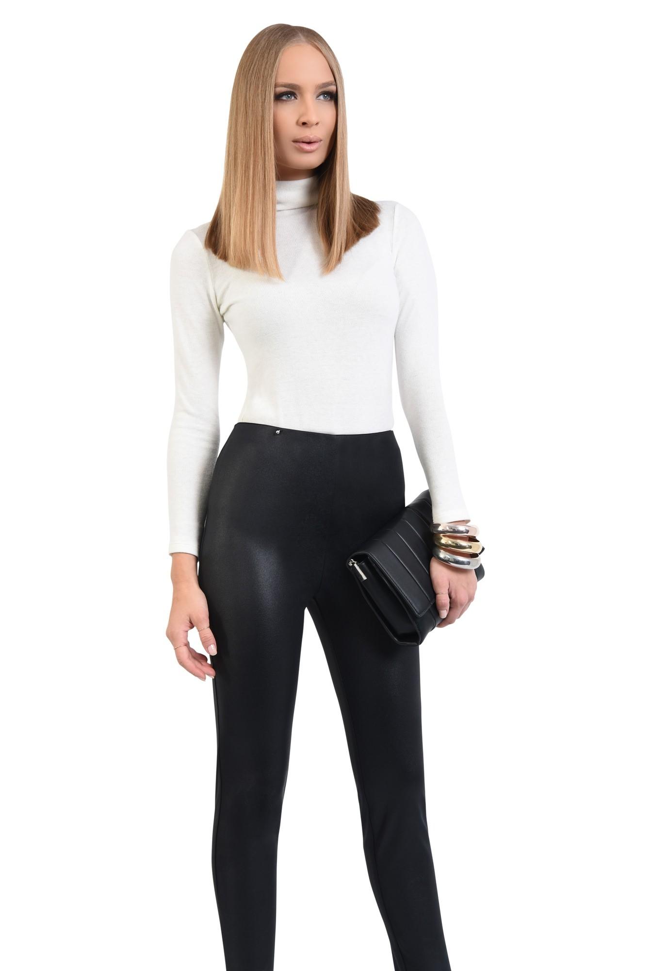 0 - pantaloni negri, fermoare la glezna, talie inalta, peliculizati