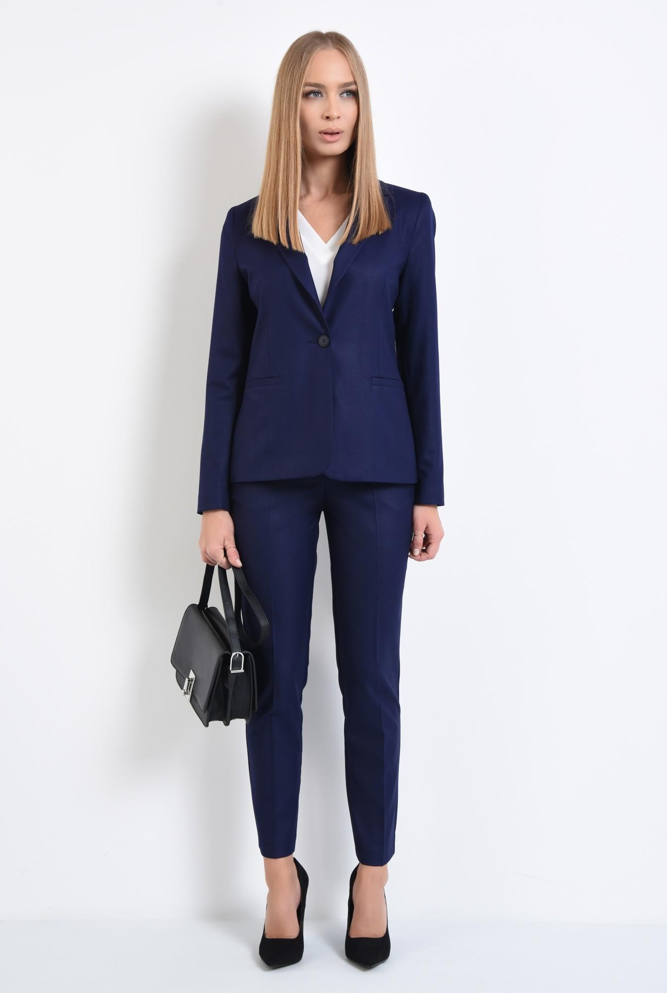 3 - pantaloni tigareta, croi conic, albastru