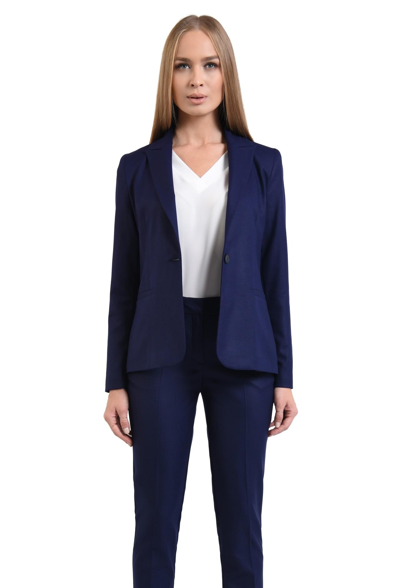 0 - pantaloni tigareta, croi conic, albastru