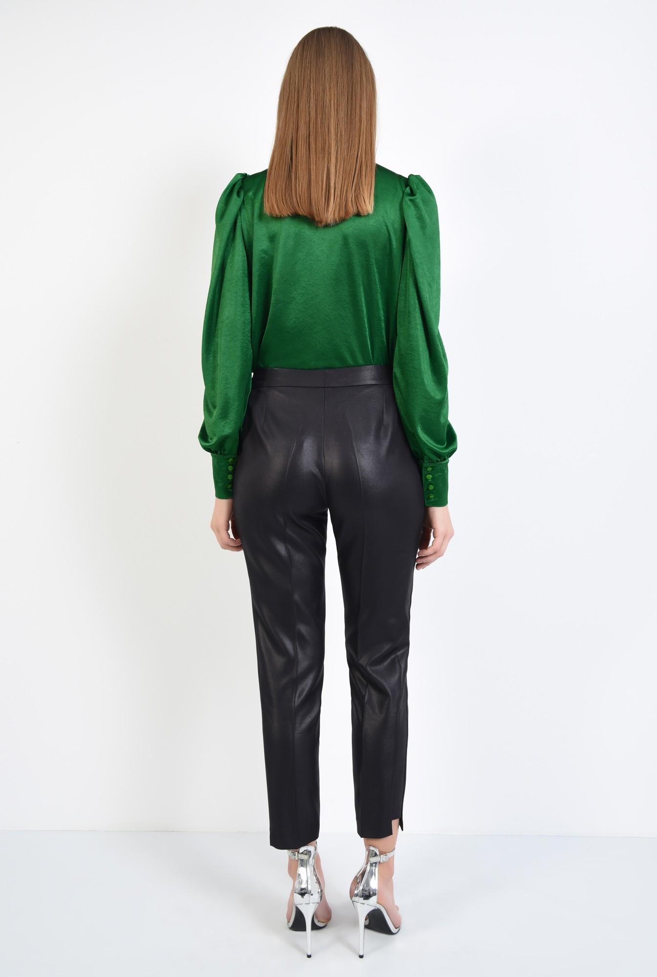 1 - pantaloni negri, eleganti, conici, la dunga, aspect lucios