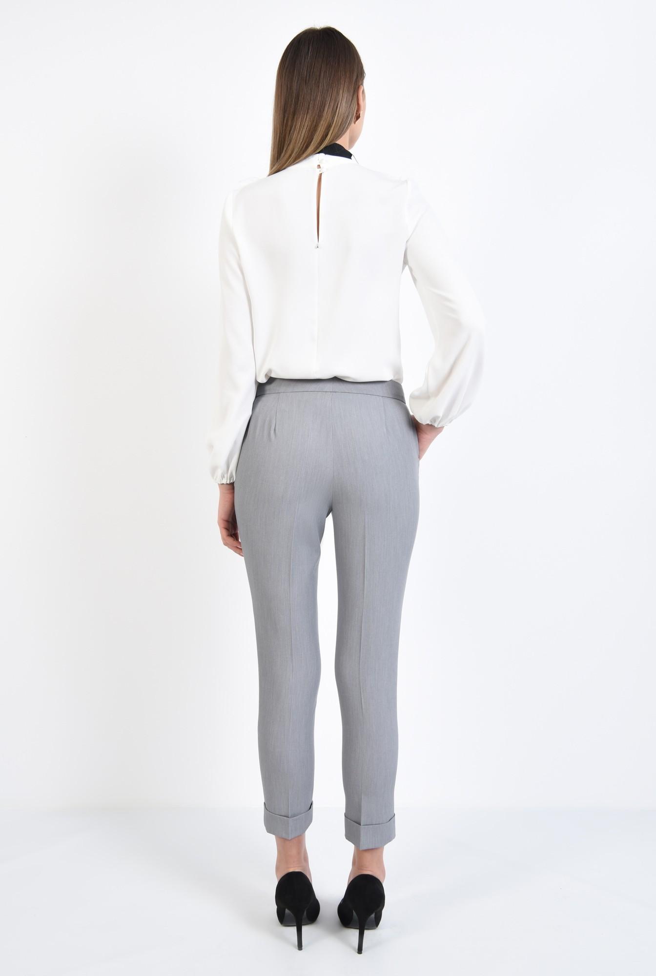 1 - pantaloni gri, office, croi conic, mansete