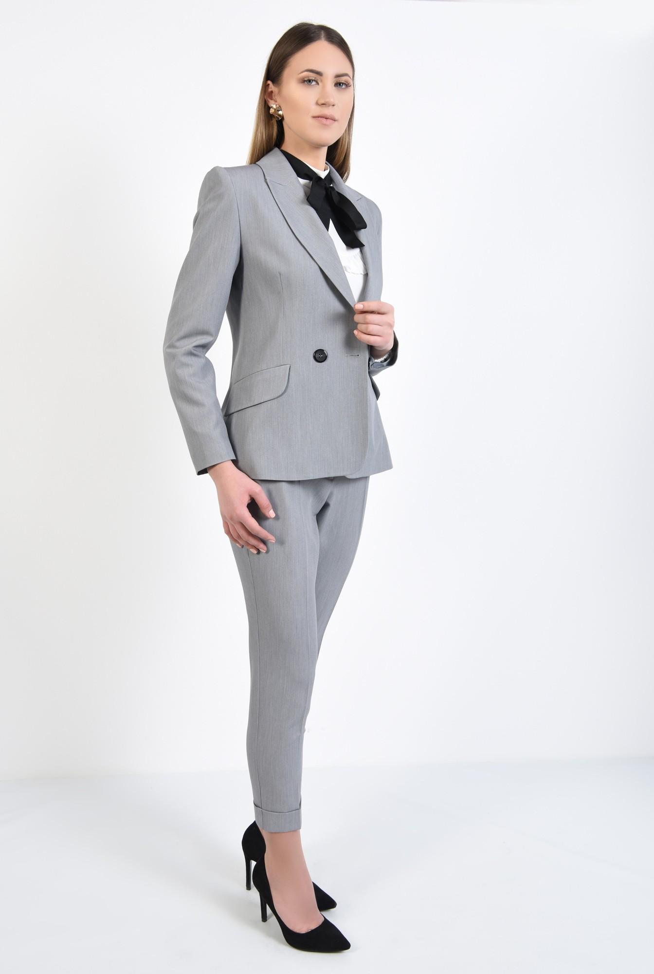 0 - pantaloni gri, office, croi conic, mansete