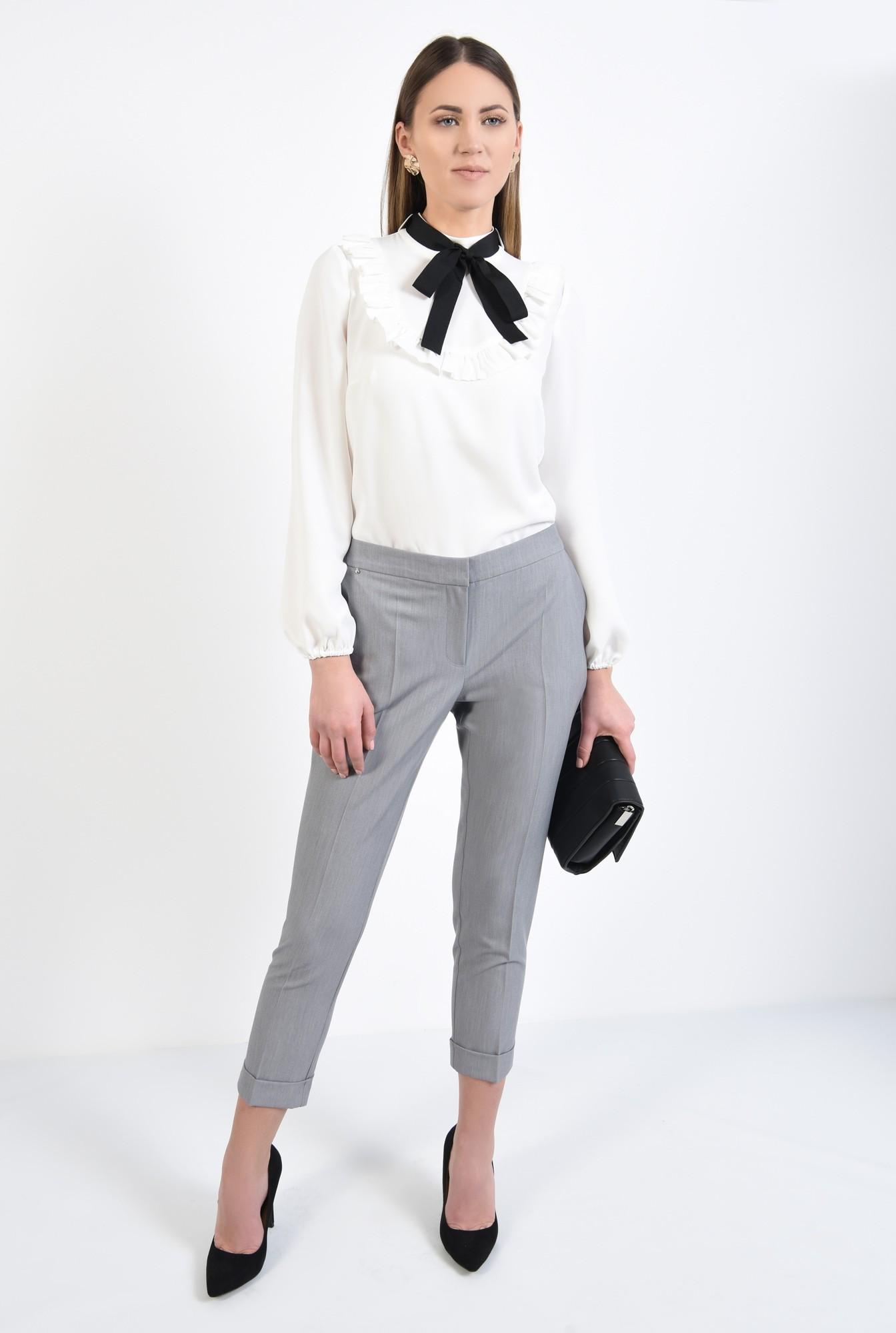 3 - pantaloni gri, office, croi conic, mansete
