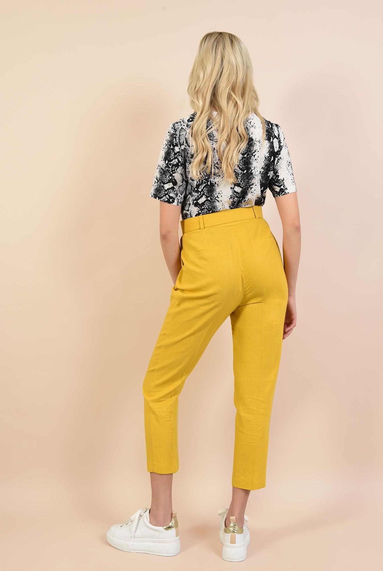 1 - pantaloni conici, mustar, Poema, cu curea lata, pantaloni online