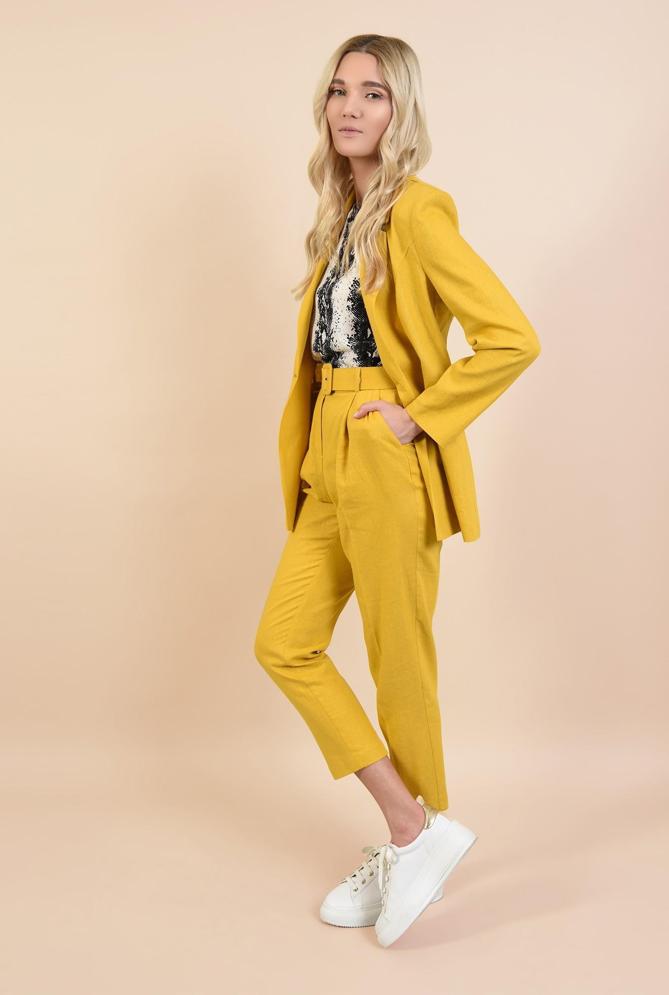 0 - pantaloni conici, mustar, Poema, cu curea lata, pantaloni online