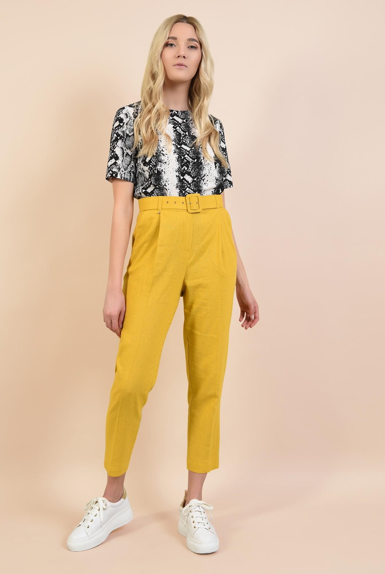 3 - pantaloni conici, mustar, Poema, cu curea lata, pantaloni online