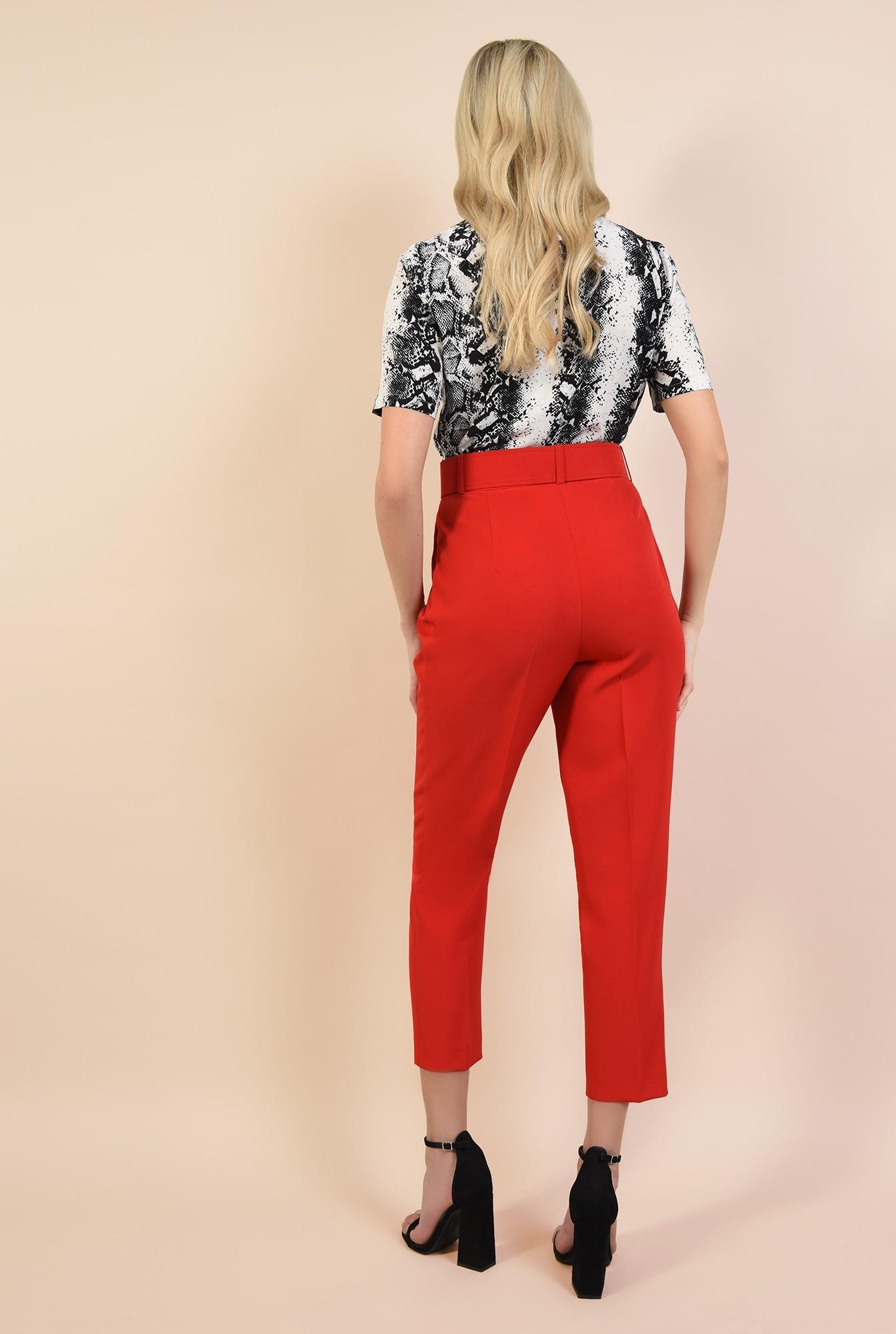 1 - 360 - pantaloni casual, rosu, conici, cu pliuri, cu centura