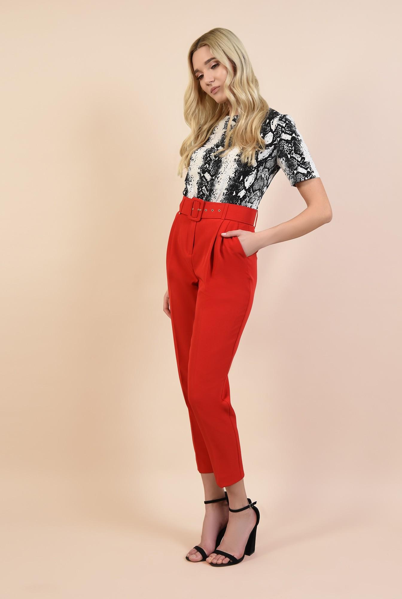 3 - 360 - pantaloni casual, rosu, conici, cu pliuri, cu centura