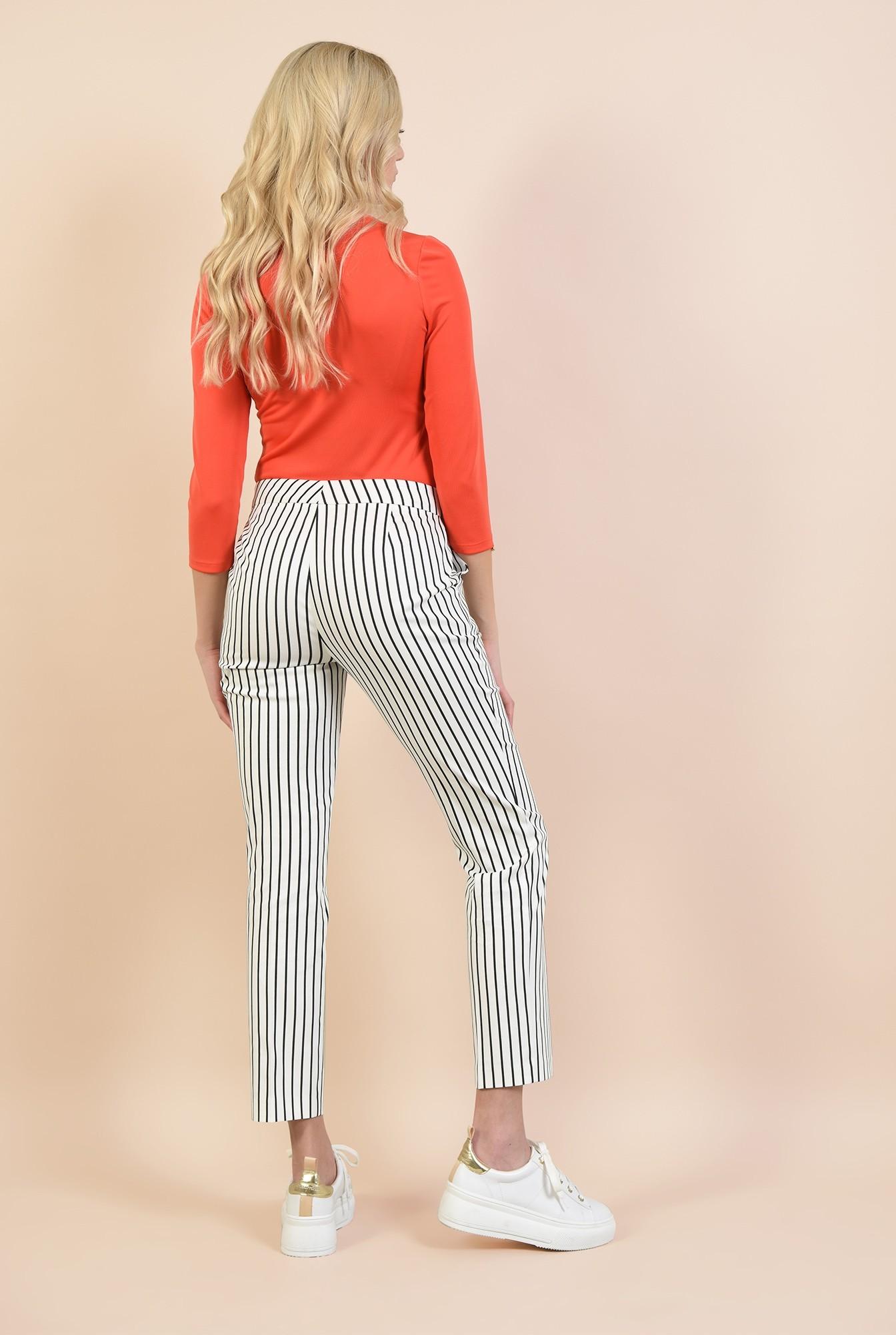 1 - pantaloni alb-bleumarin, cu print dungi, croi tigareta