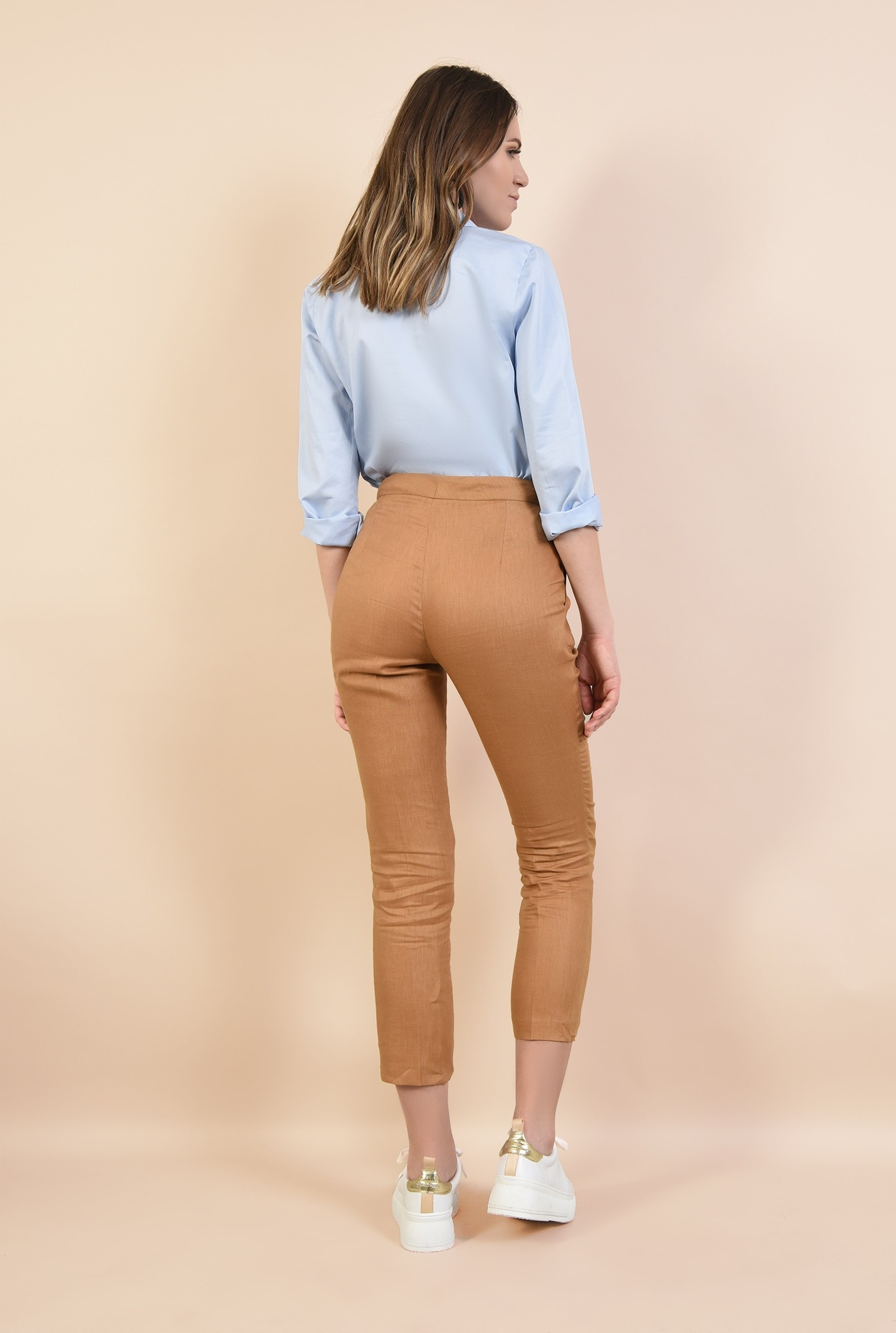 1 - pantaloni de zi, din in, croi tigareta, buzunare in cusatura