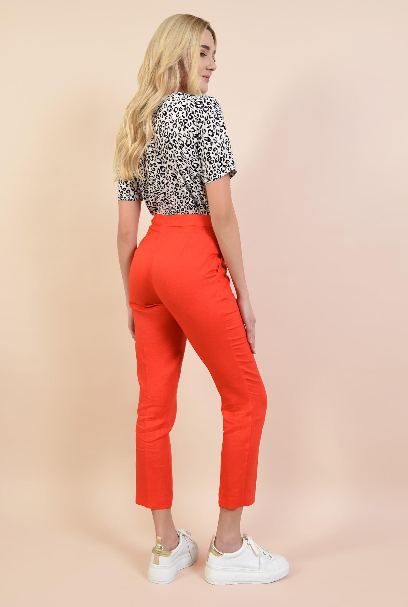 1 - 360 - pantaloni rosii, conici, cu buzunare, cu betelie