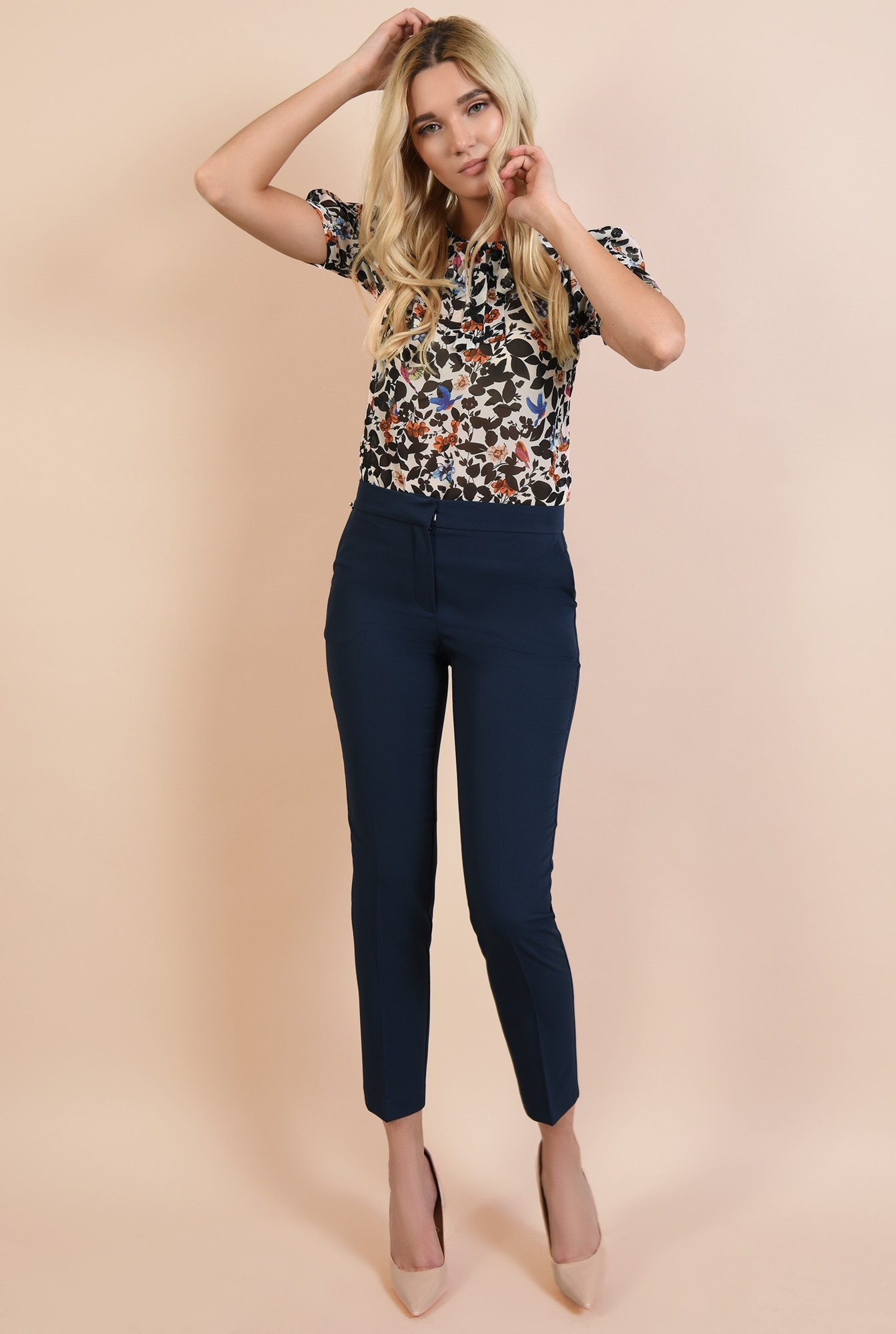 0 - 360 - pantaloni bleumarin, tigareta, cu buzunare, croi conic la dunga