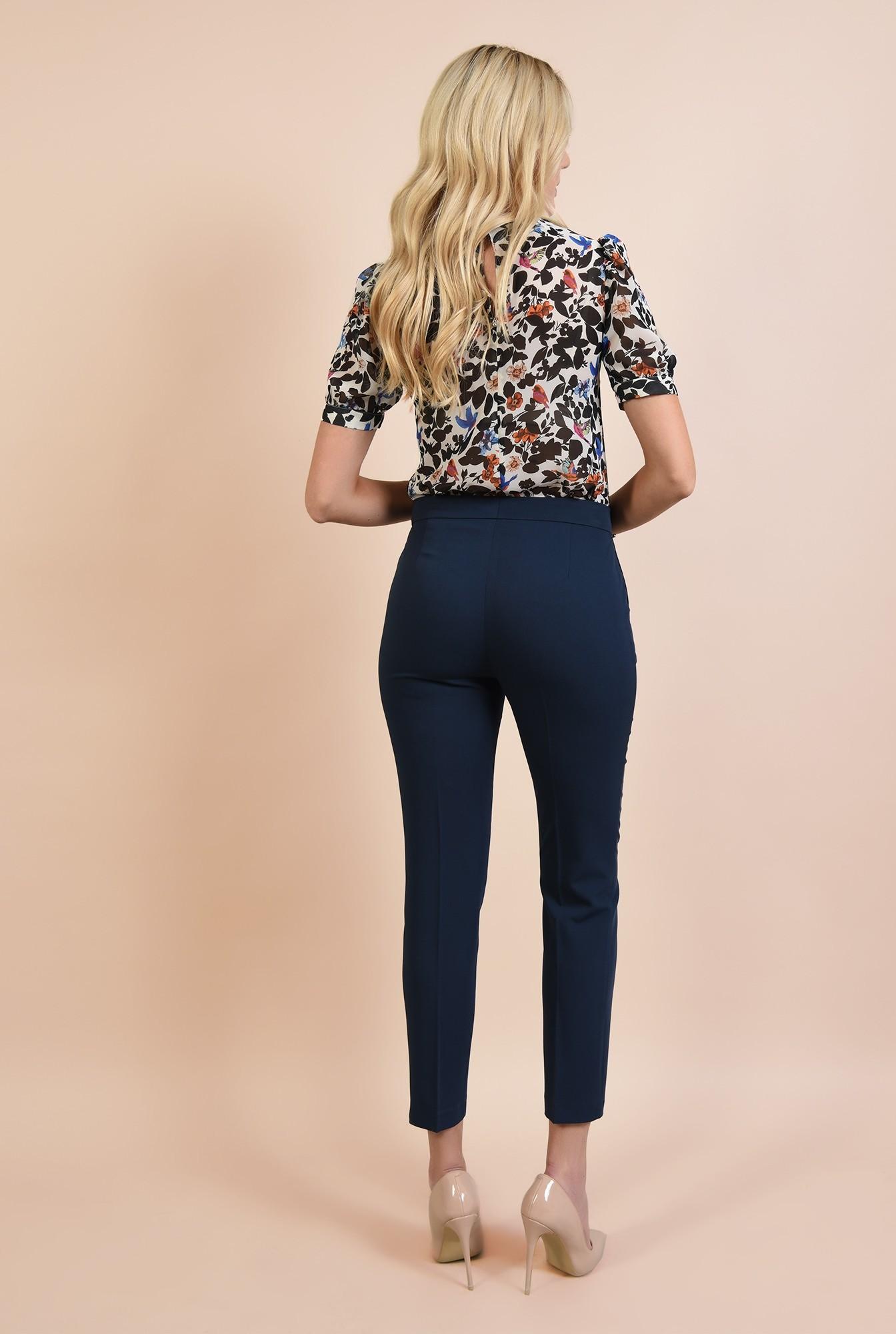1 - 360 - pantaloni bleumarin, tigareta, cu buzunare, croi conic la dunga
