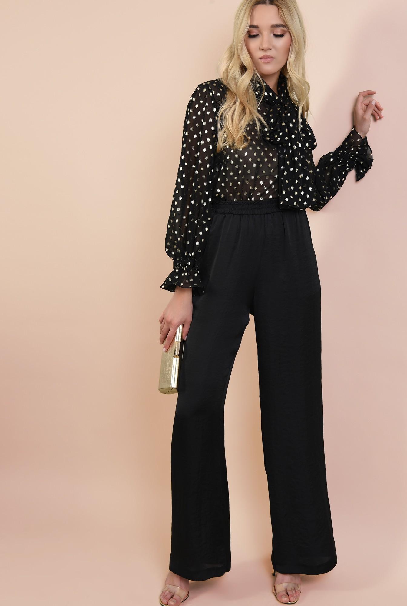 3 - 360 - pantaloni eleganti, din satin, lungi, cu talie inalta, betelie elastica
