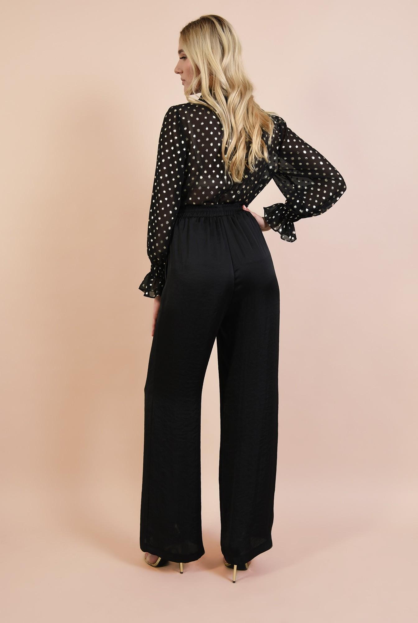 1 - pantaloni eleganti, negri, din satin, croi evazat, betelie pe elastic