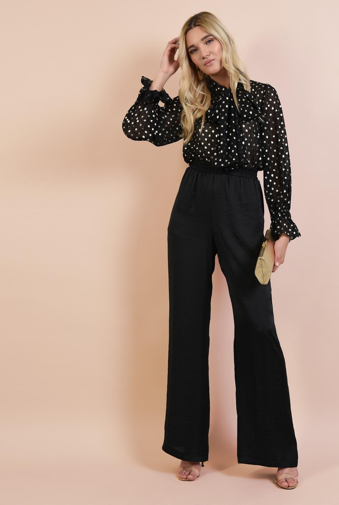 0 - pantaloni eleganti, negri, din satin, croi evazat, betelie pe elastic