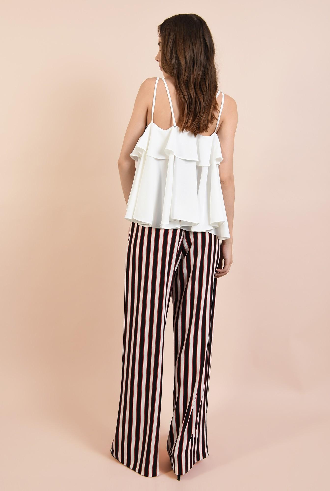 1 - 360 - pantaloni casual, croi larg, cu dungi, talie inalta pe elastic, Poema