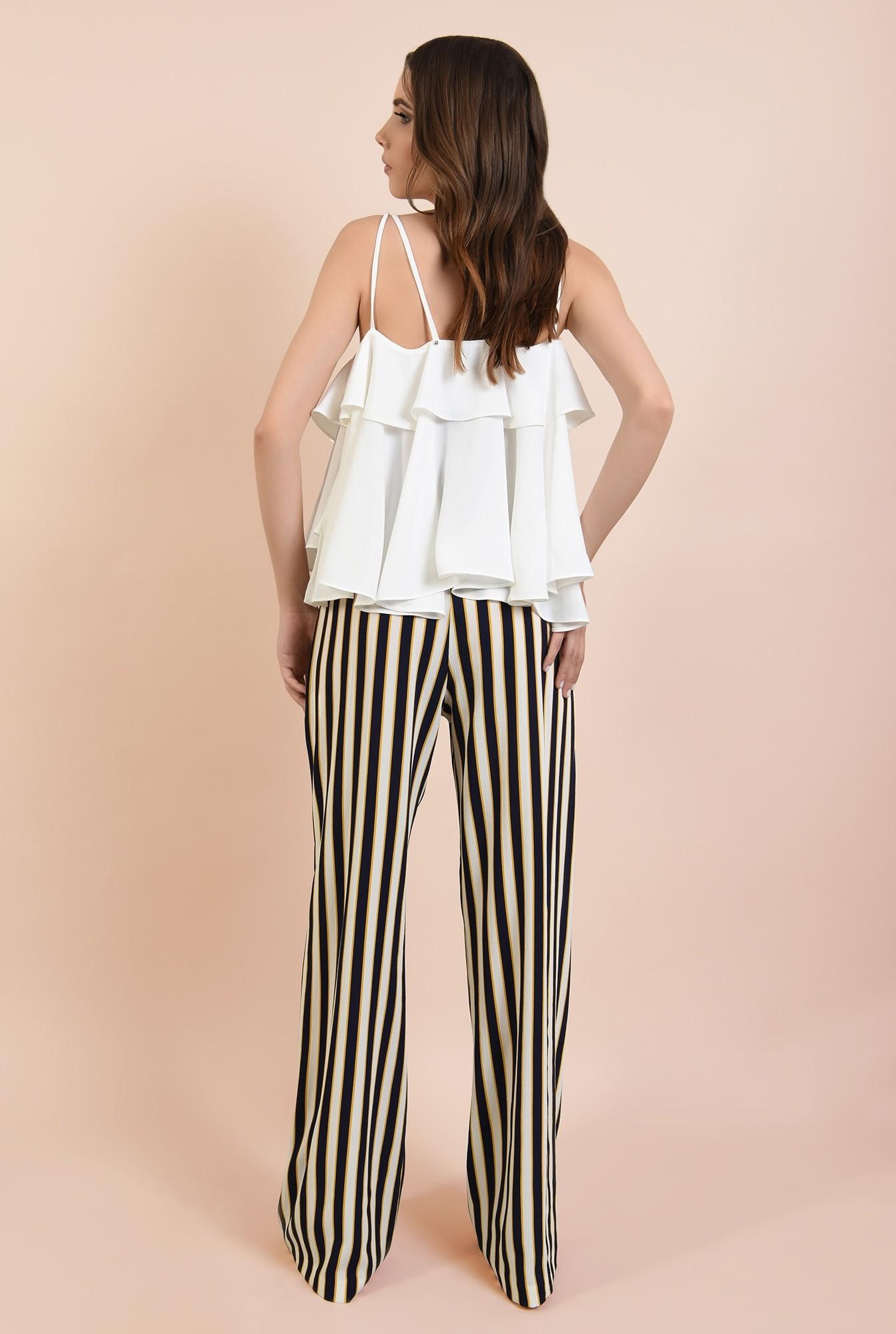 1 - 360 - pantaloni de zi, croi larg, dungi multicolore, betelie elastica
