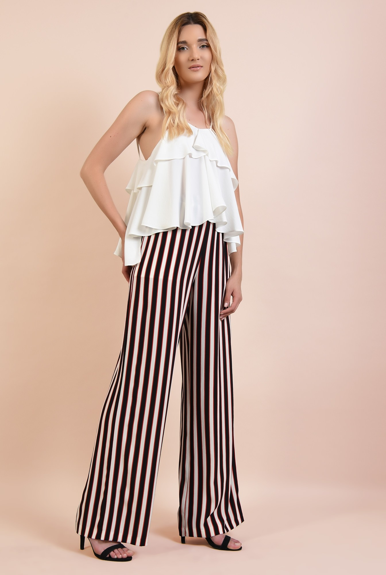 3 - 360 - pantaloni cu dungi, drepti, croi lejer, cu talie elastica, buzunare, Poema