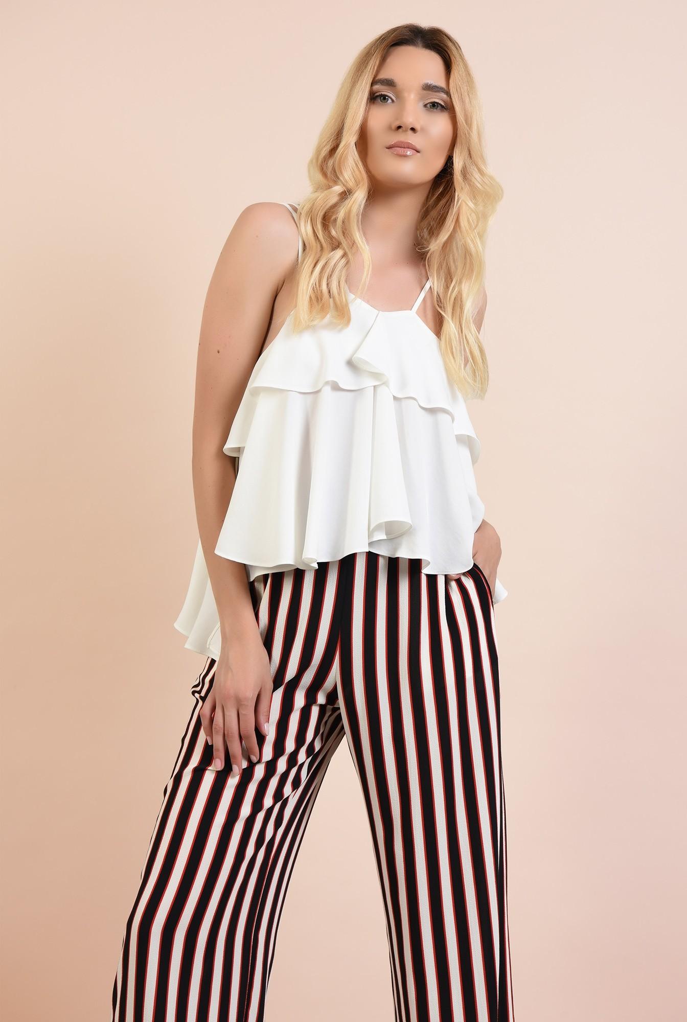 0 - 360 - pantaloni cu dungi, drepti, croi lejer, cu talie elastica, buzunare, Poema