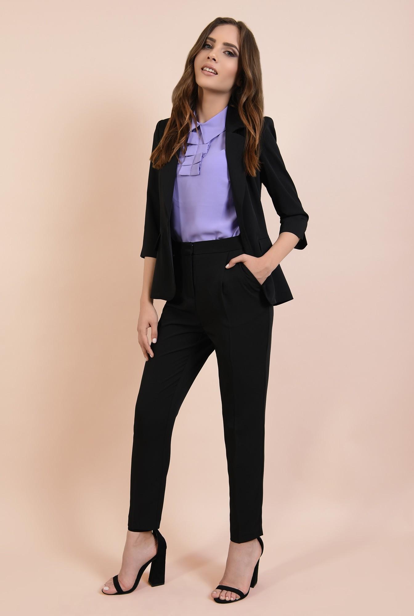 0 - pantaloni office, costum, negri, tigareta, cu buzunare