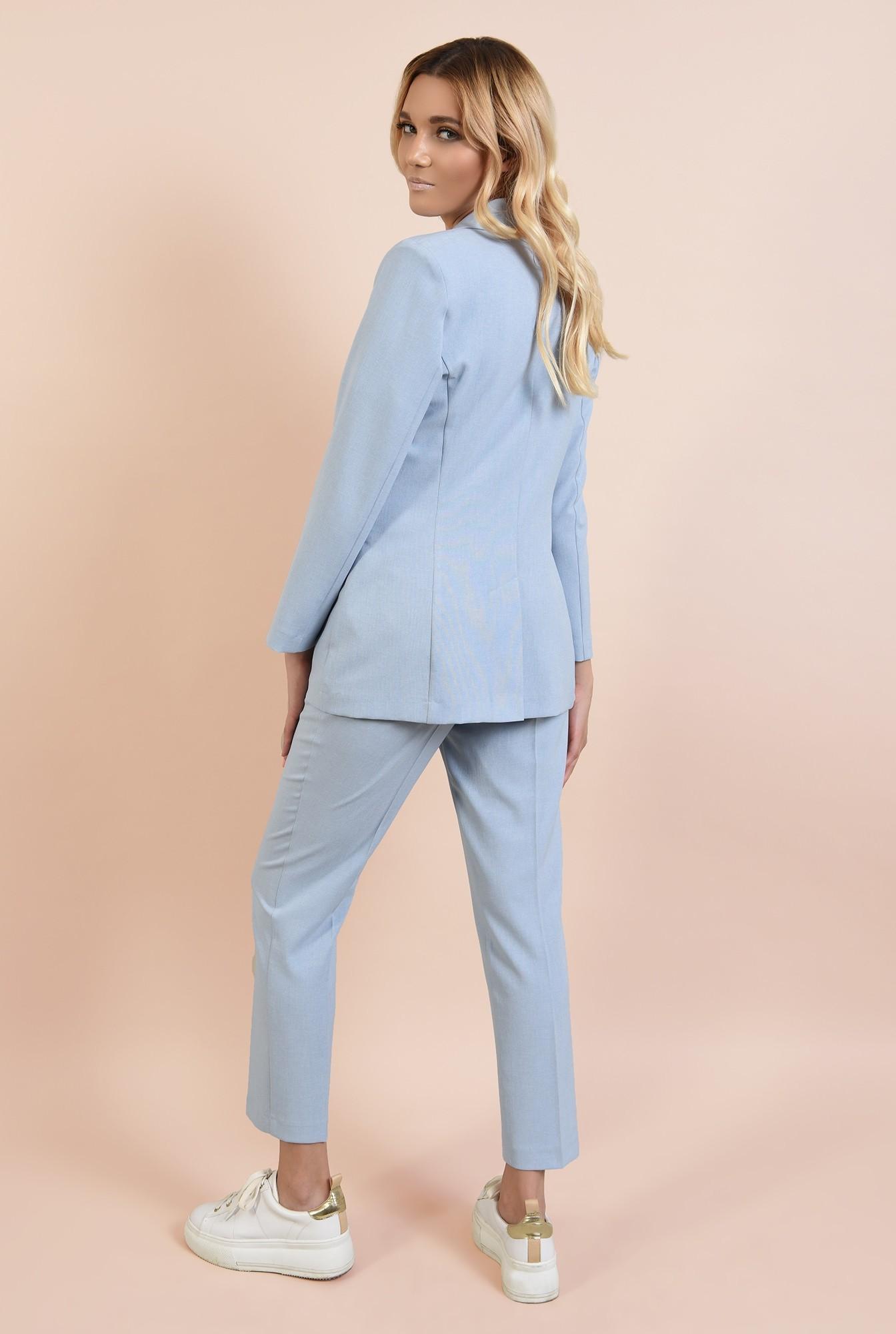 1 - pantaloni tigareta, casual, din in, cu talie medie, cu buzunare