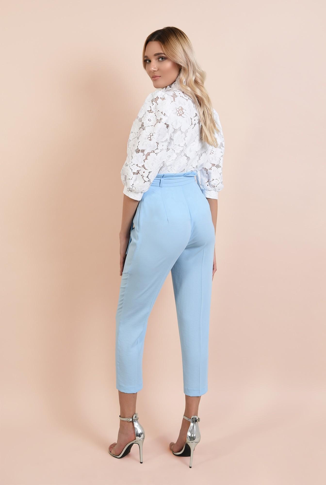 1 - pantaloni eleganti, bleu, lungi, cu cordon, betelie plisata, Poema