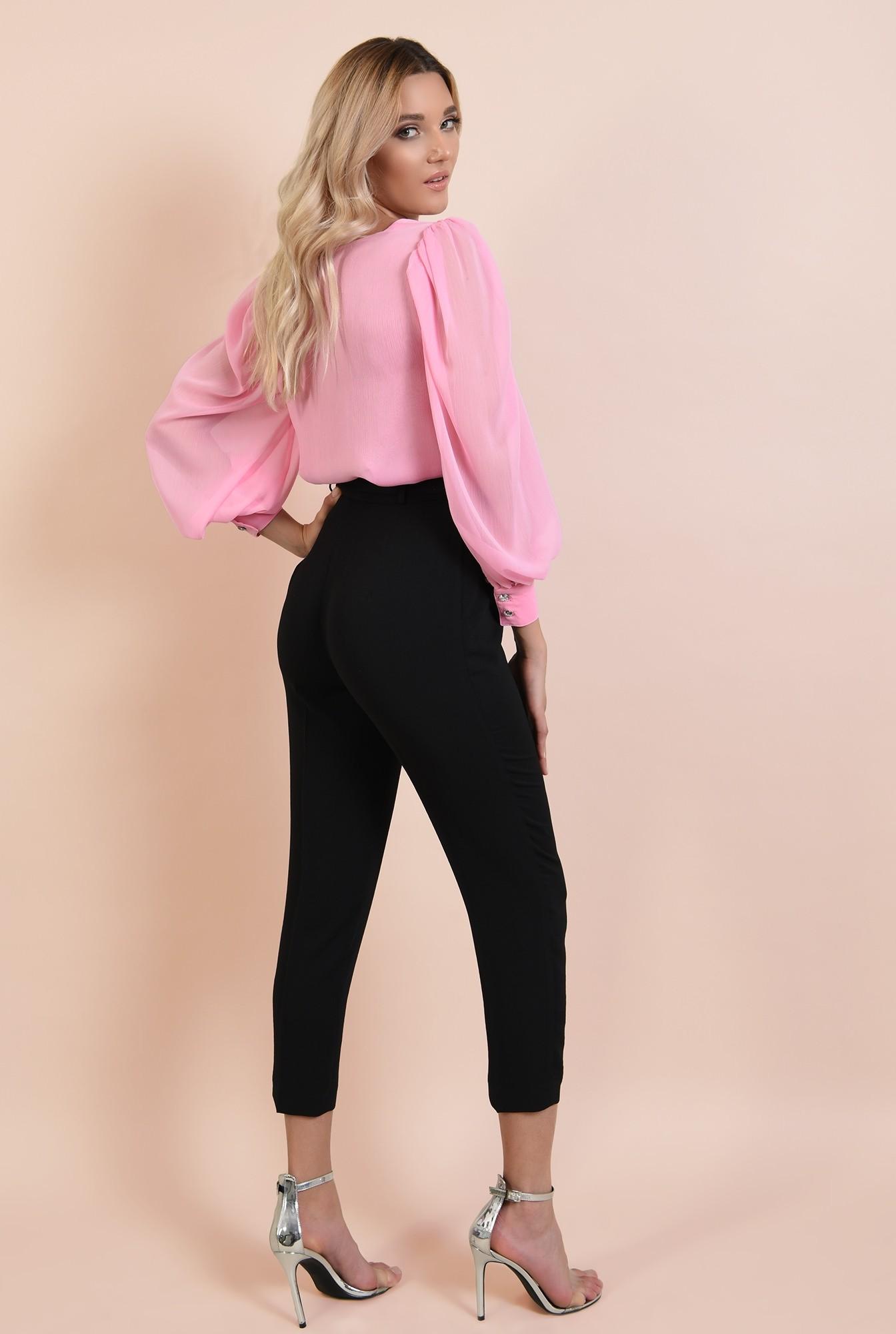 1 - 360 - pantaloni eleganti, negri, tigareta, cu cordon, funda la talie