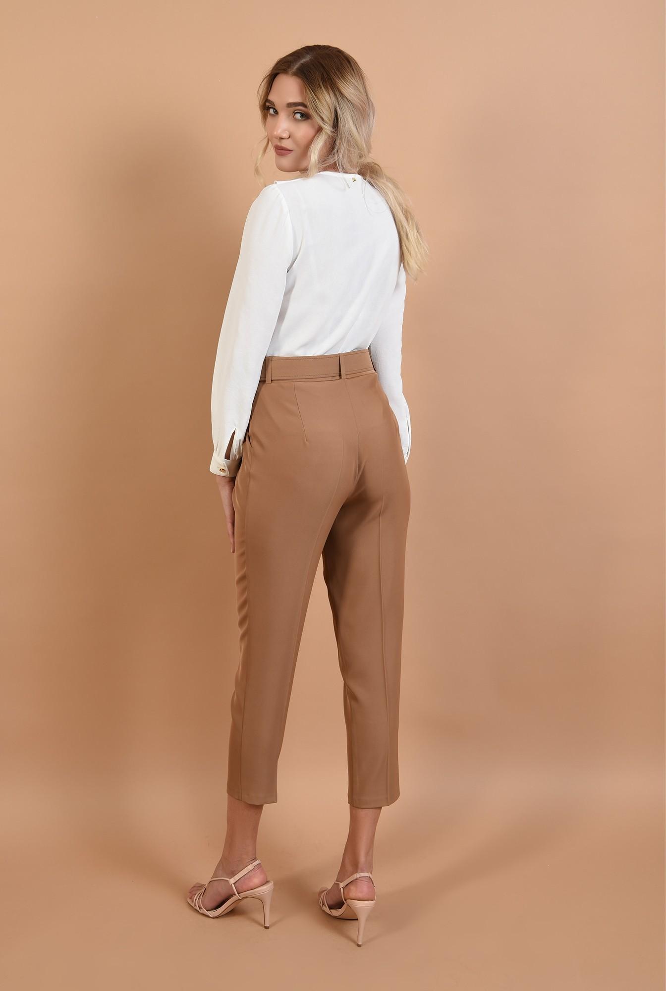 1 - 360 - pantaloni Poema, office, conici, la dunga, cu centura